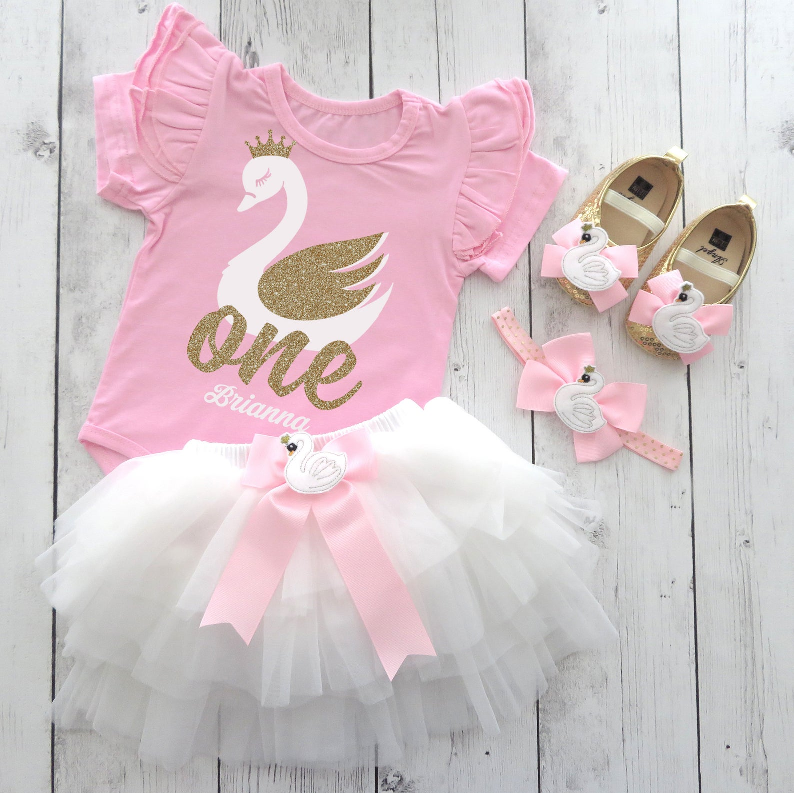 Swan First Birthday Outfit for girl in pink, mint and gold - swan soiree, personalized, ruffle sleeves, swan princess bday, swan lake bday