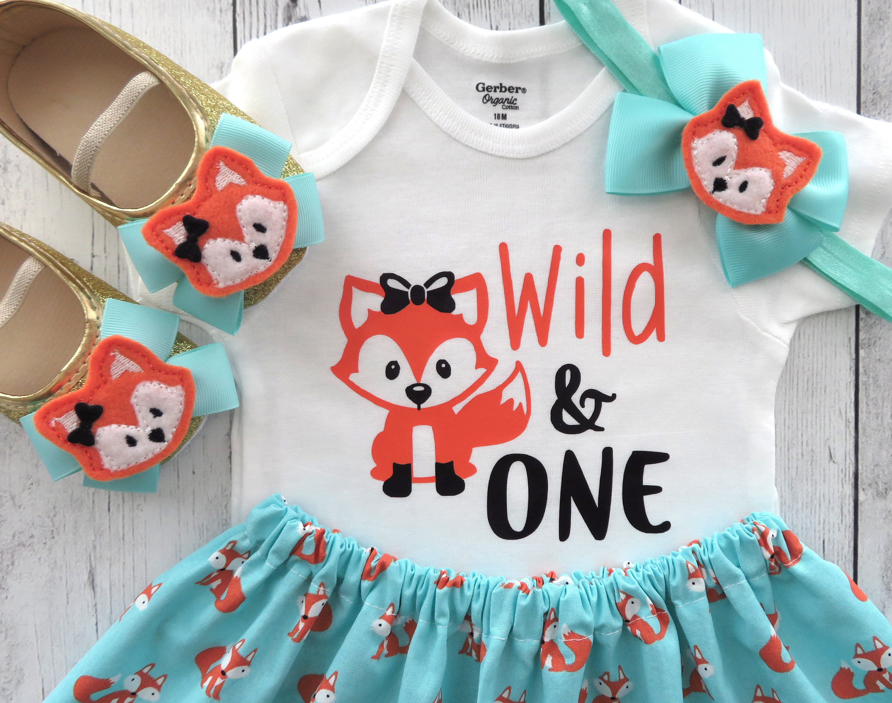 Fox First Birthday Outfit in Teal and Orange - woodland birthday girl, wild one fox, fox shoes, fox 1st bday outfit girl, fox dress girl