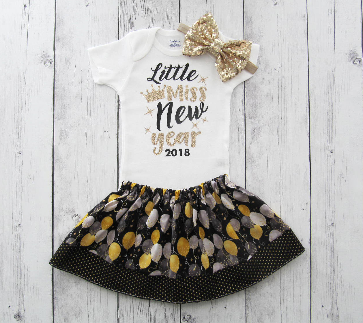 Little Miss New Year Outfit for Baby Girl - new years dress, holidays, black gold, holiday outfit, baby girl christmas