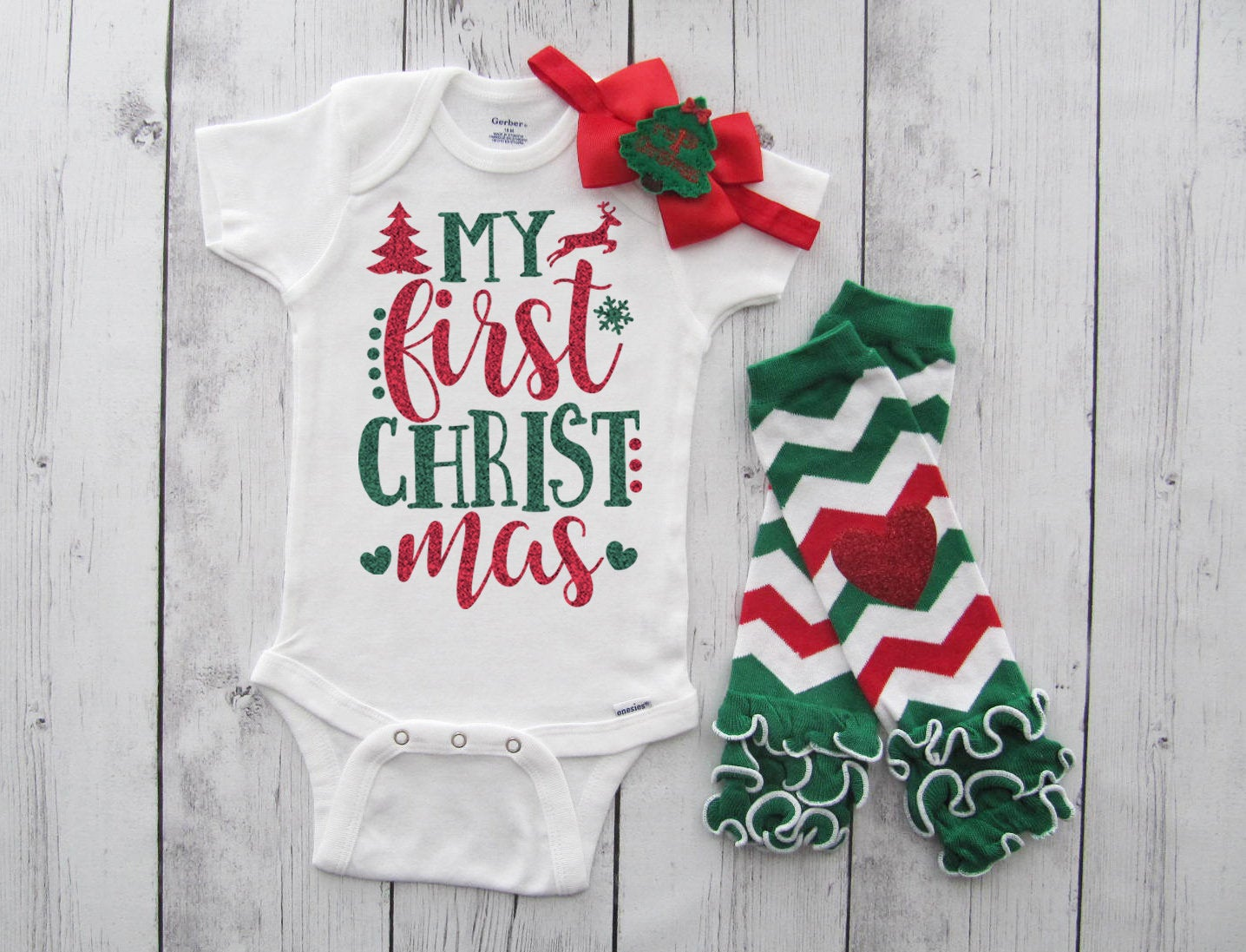 My First Christmas Onesie in red and green glitter - baby girl christmas shirt, my 1st xmas, baby's first christmas outfit