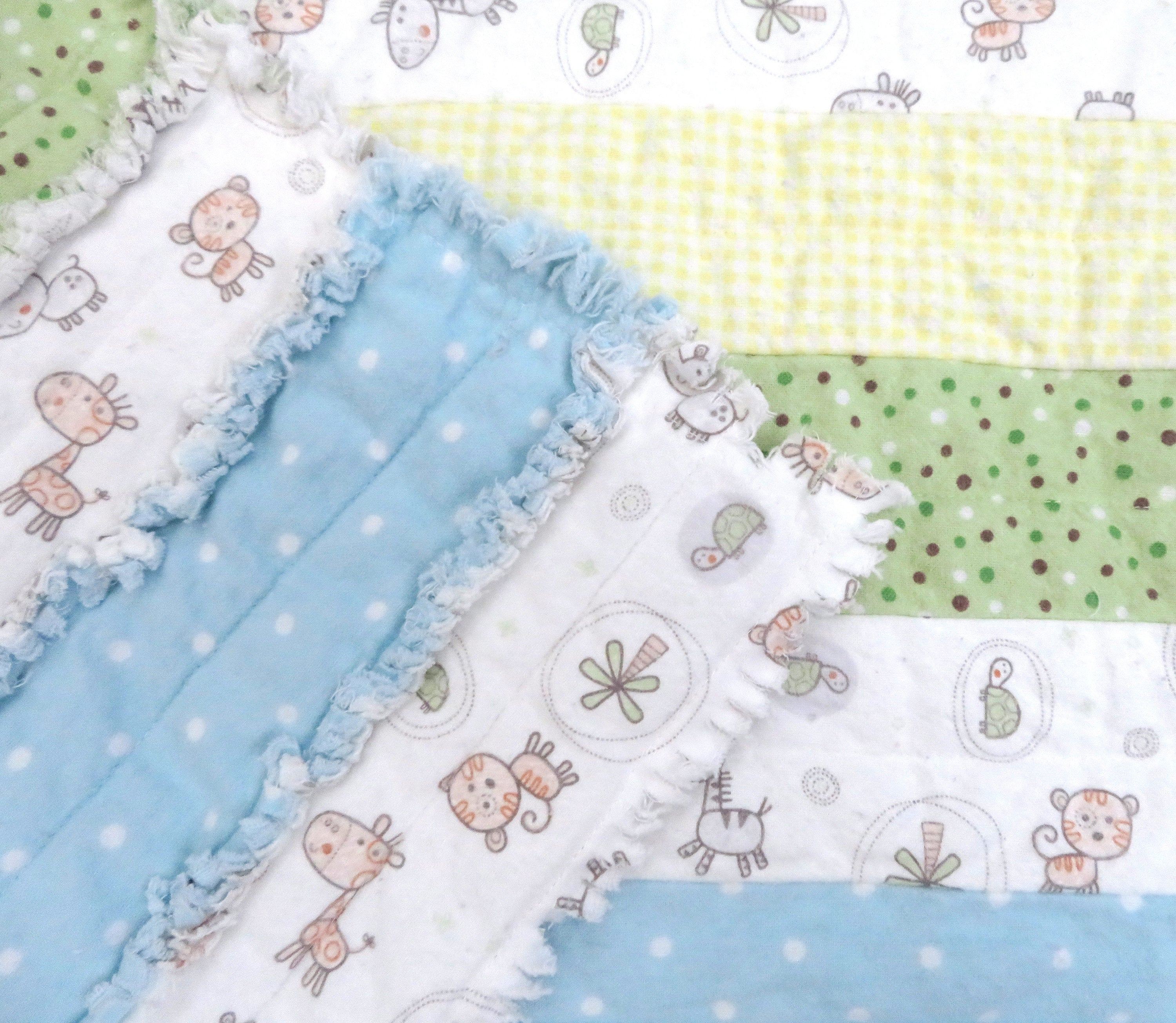 Baby Animal Jelly Roll Rag Quilt - soft pastels, baby boy nursery blanket, blue green yellow, zoo animal, zebra lion giraffe rhino