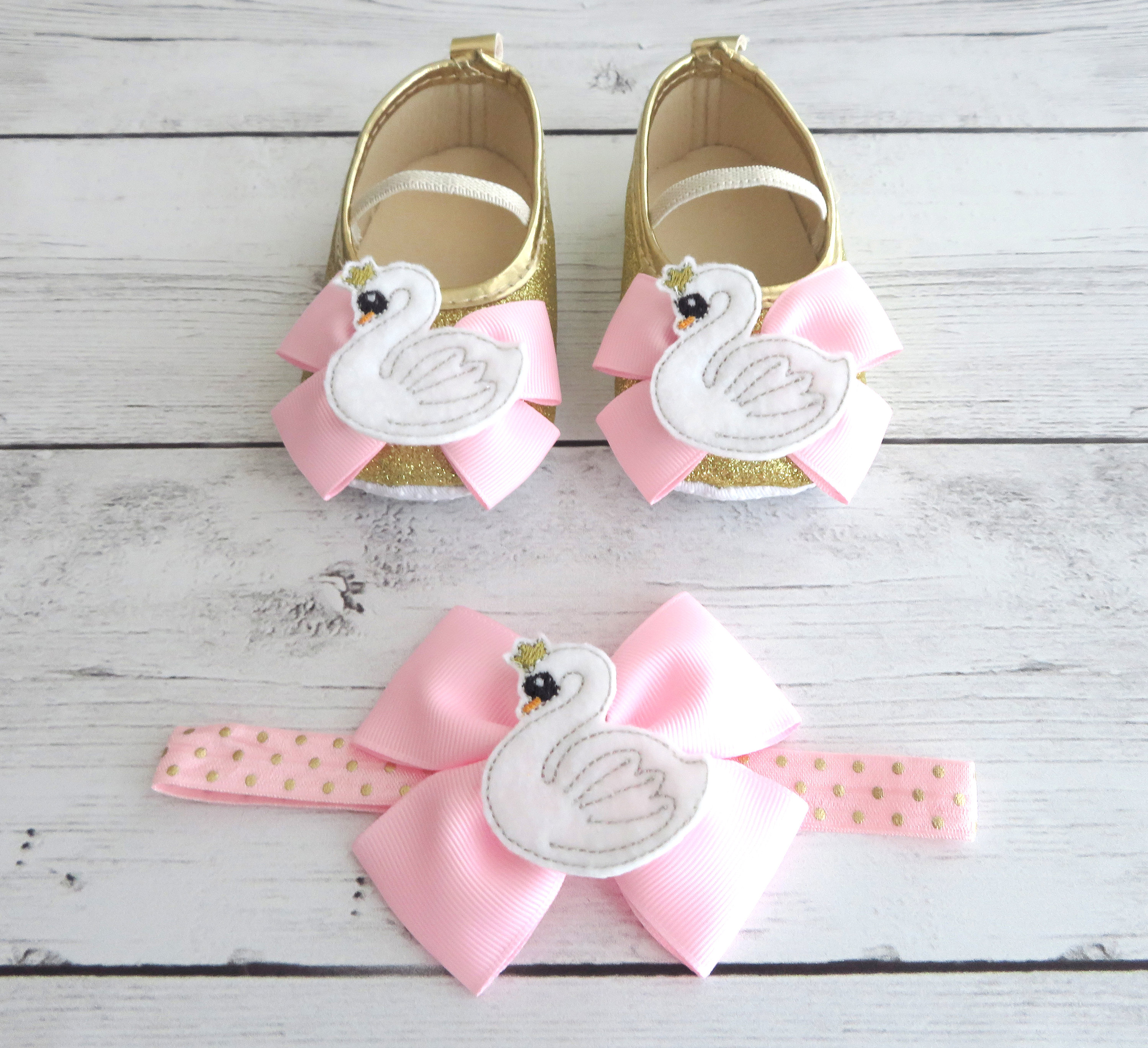 Swan First Birthday Shoes & Headband for Girl in light pink and gold -1st bday girl, birthday shoes, toddler shoes, swan 1st bday, swan lake