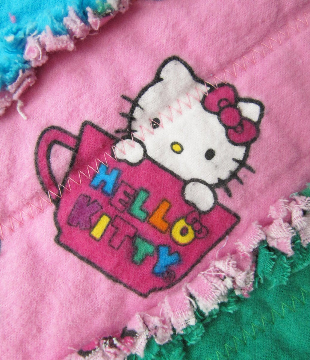 Hello Kitty Baby Quilt for Baby Girl in pink and rainbow - baby girl blanket, crib/nursery rag quilt, jelly roll quilt, baby shower gift