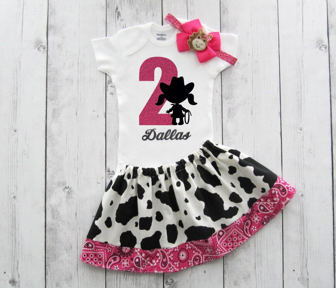 Cowgirl Second Birthday Outfit in Cow print and Hot Pink Bandana - girl birthday outfit, rodeo birthday girl, tow year old birthday