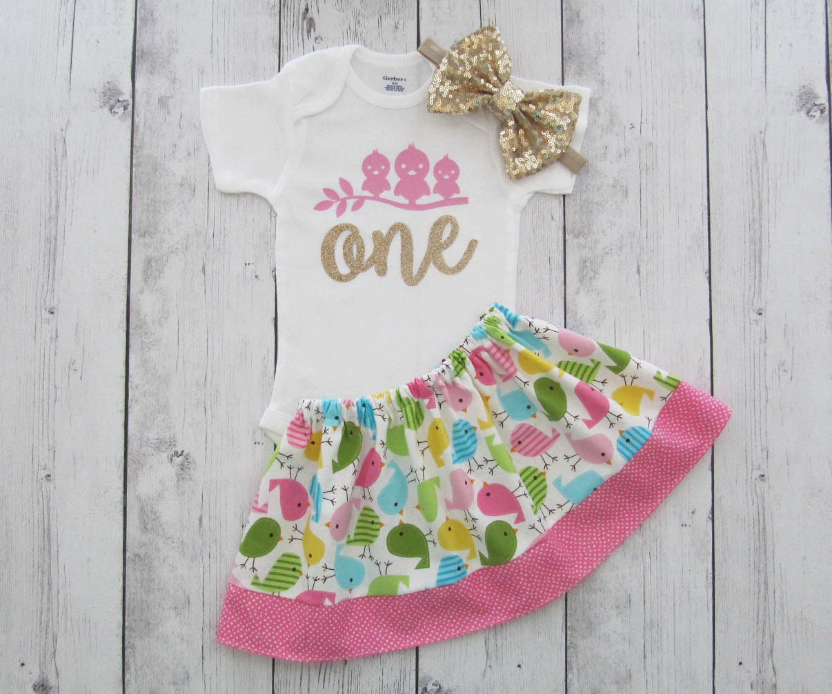 SALE - Bird First Birthday Outfit in colorful bird print - twirl skirt, girl birthday outfit, spring birthday, first birthday outfit