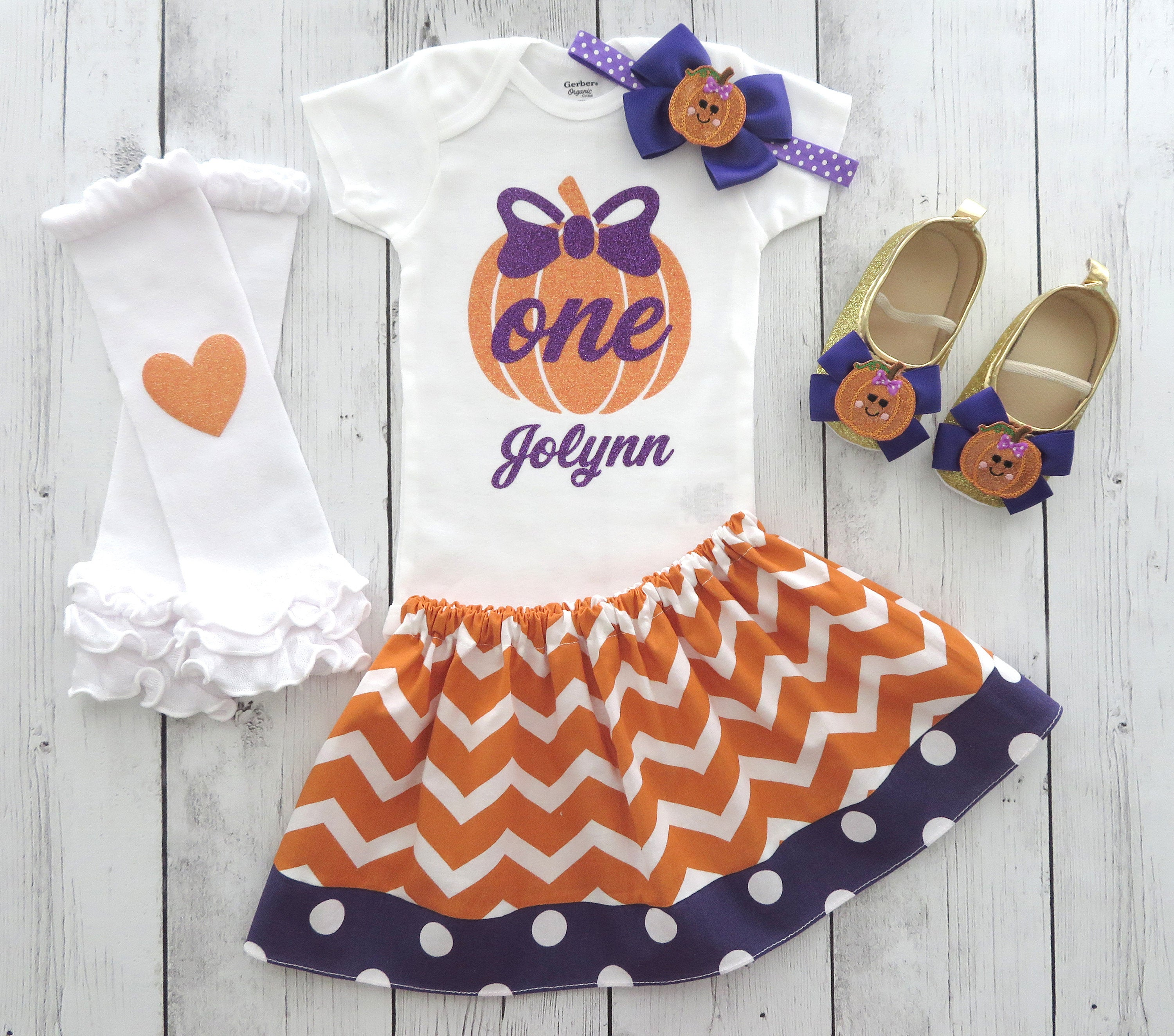 Pumpkin First Birthday Outfit in purple and orange - fall birthday, girl 1st birthday outfit, our little pumpkin is turning one, 1st bday