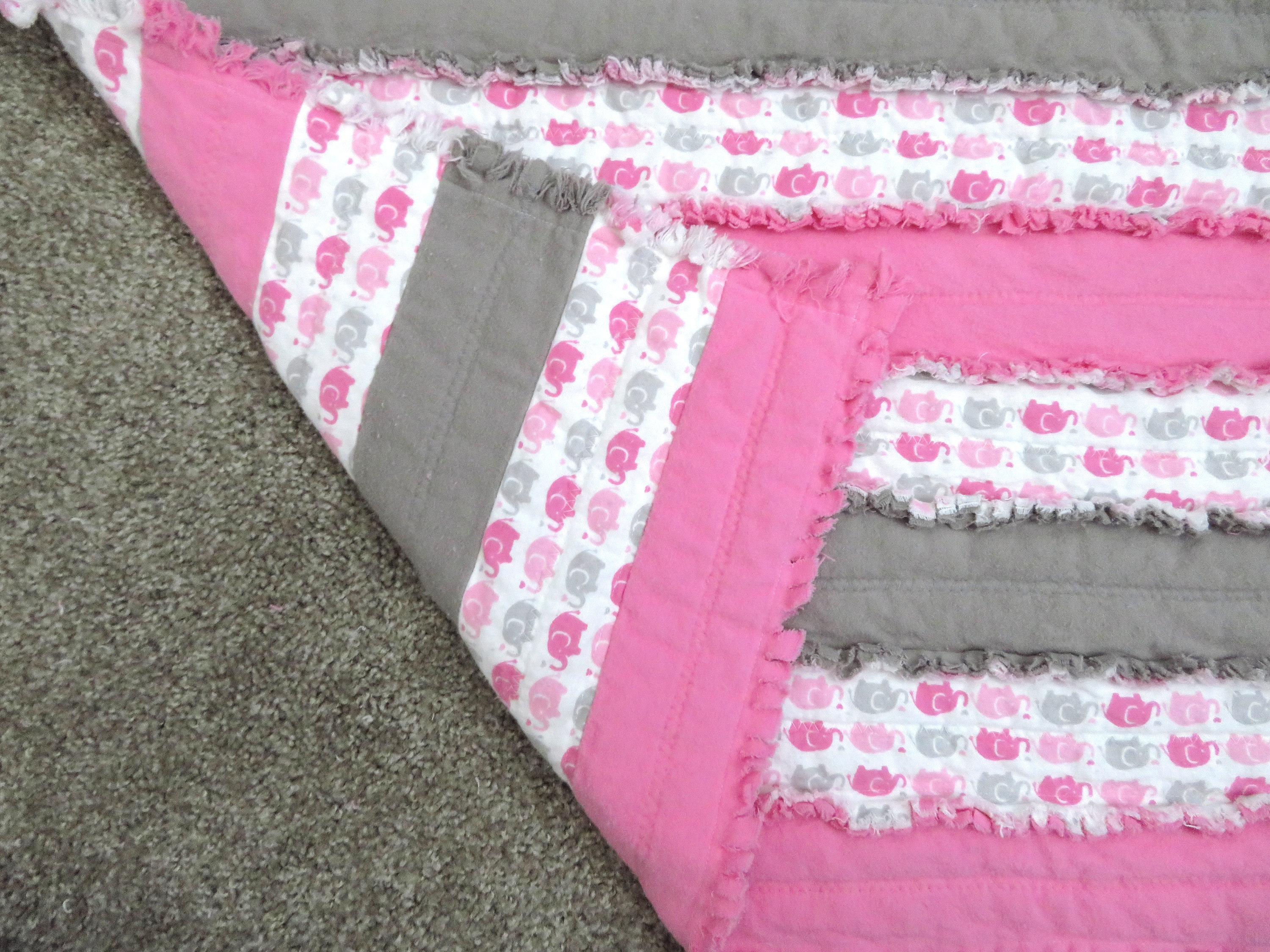Elephant Nursery Quilt - pink grey blanket, elephant baby shower gift, pink grey elephant blanket, toddler blanket, jelly roll rag quilt
