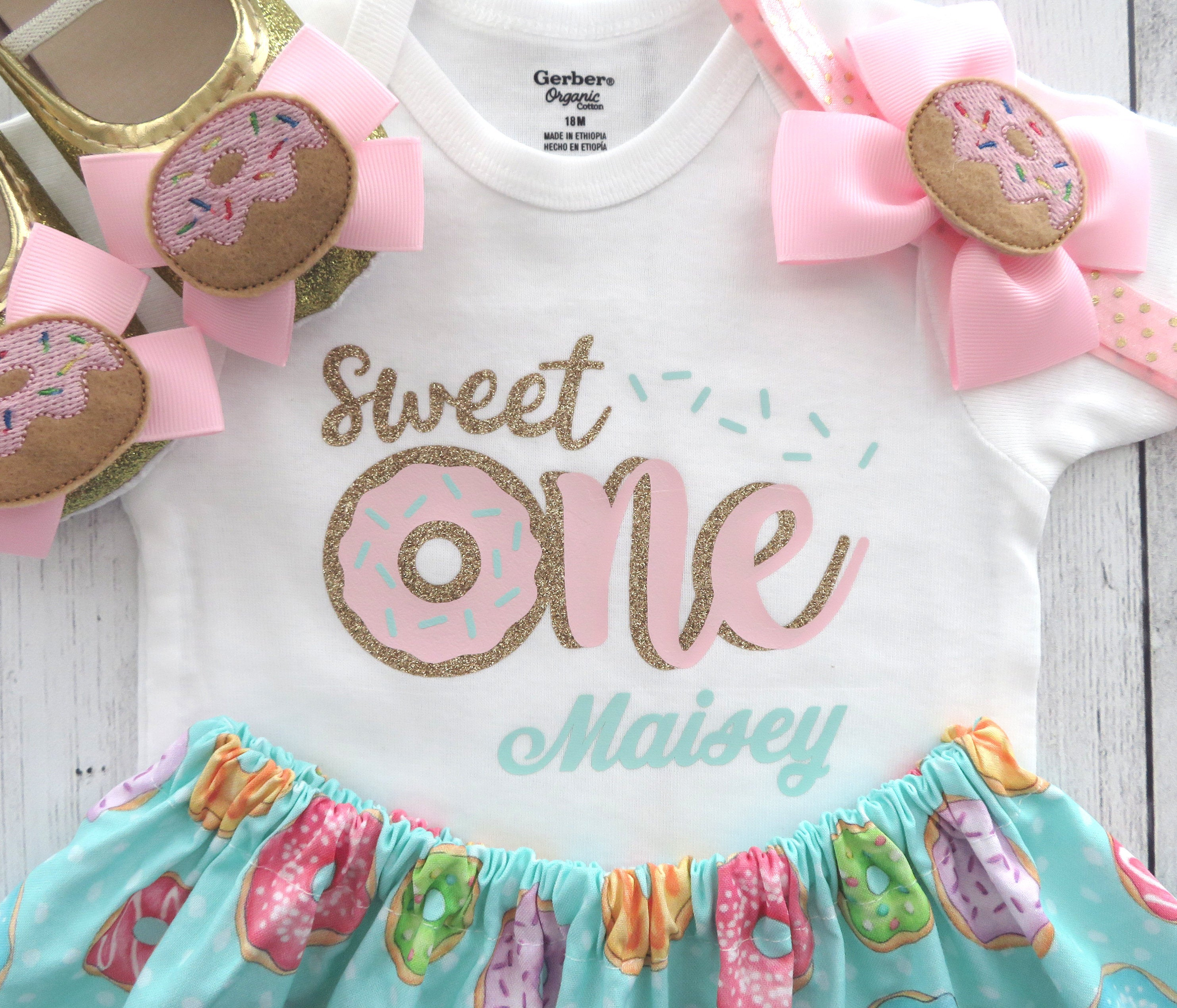 Donut First Birthday Outfit for baby girl - donut grow up, sweet one, donut first birthday party, donut 1st birthday outfit, personalized