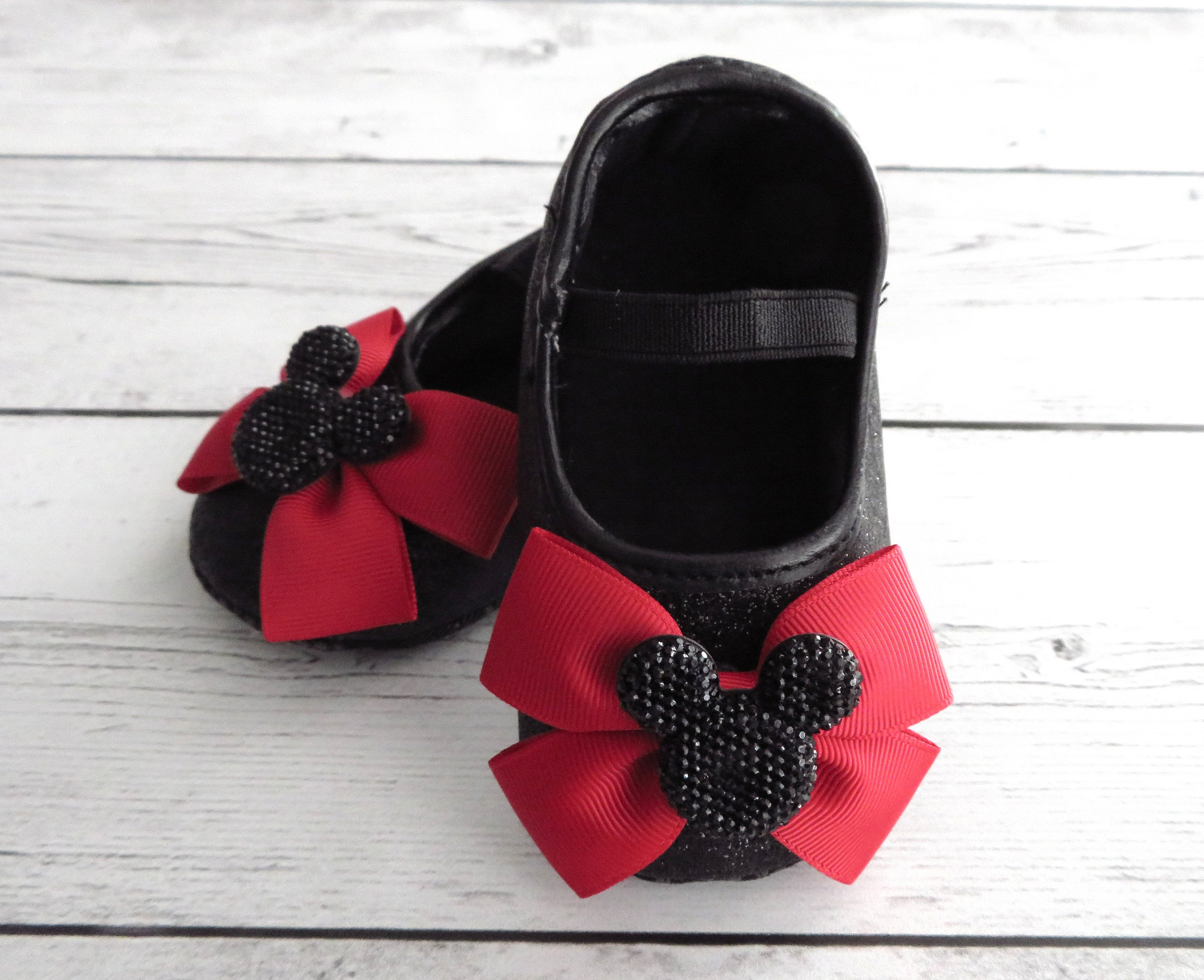 Minnie Mouse First Birthday Shoes for Girl -  black red shoes, 1st bday shoes, minnie mouse first birthday outfit, minnie shoes red