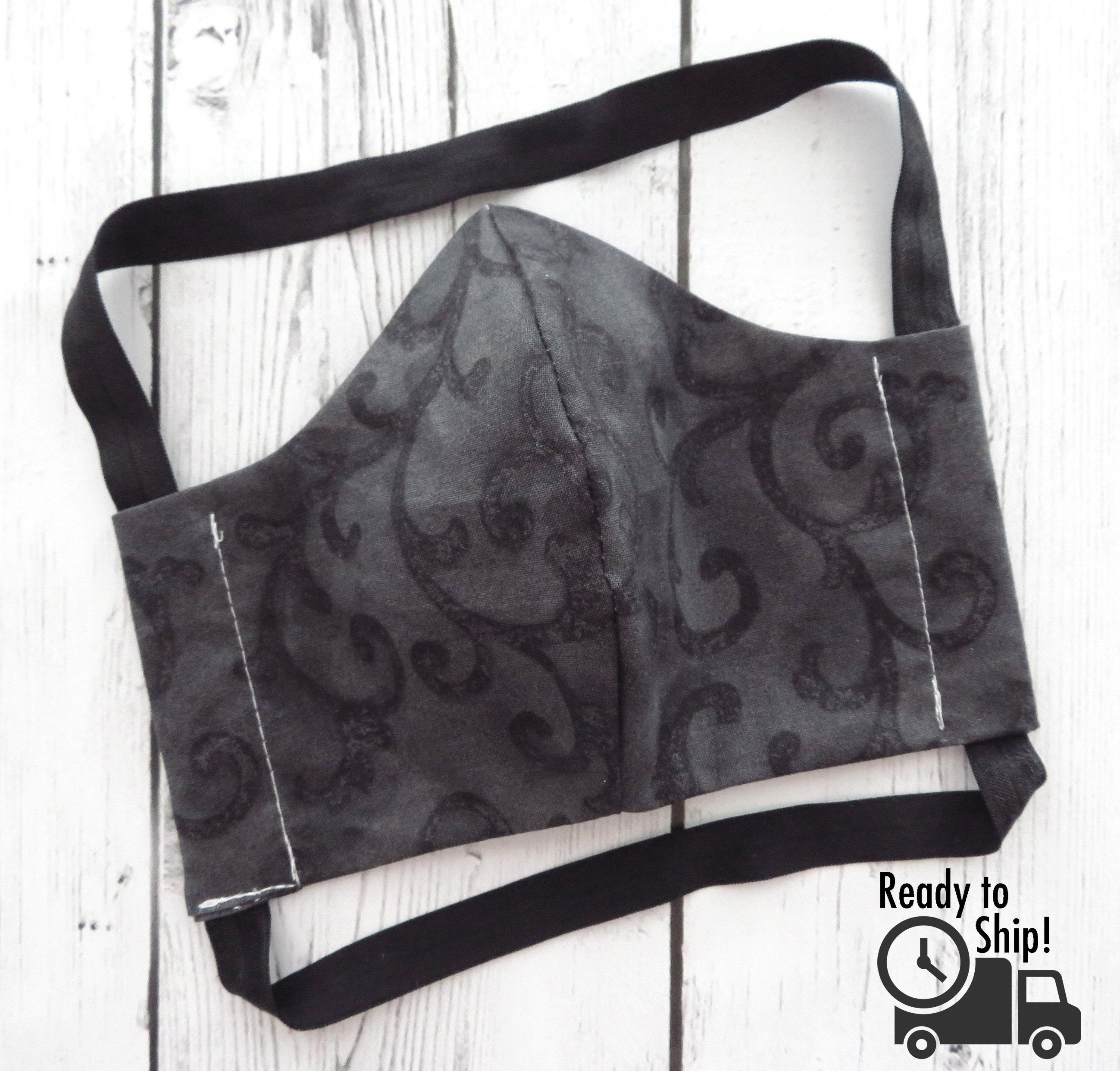 Men's or Women's Face Mask in Black Print  - READY TO SHIP!  handmade in usa, professional looking, re-usable and washable, ear saver design