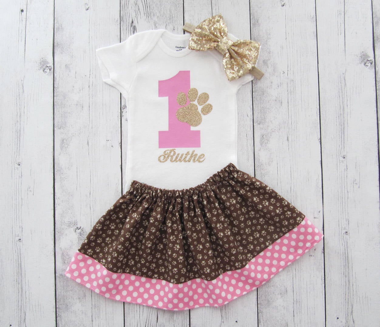 Pawty First Birthday Outfit - onesie and skirt, girl birthday, cake smash, paw print, pink dot, dog birthday, cat birthday, brown paw