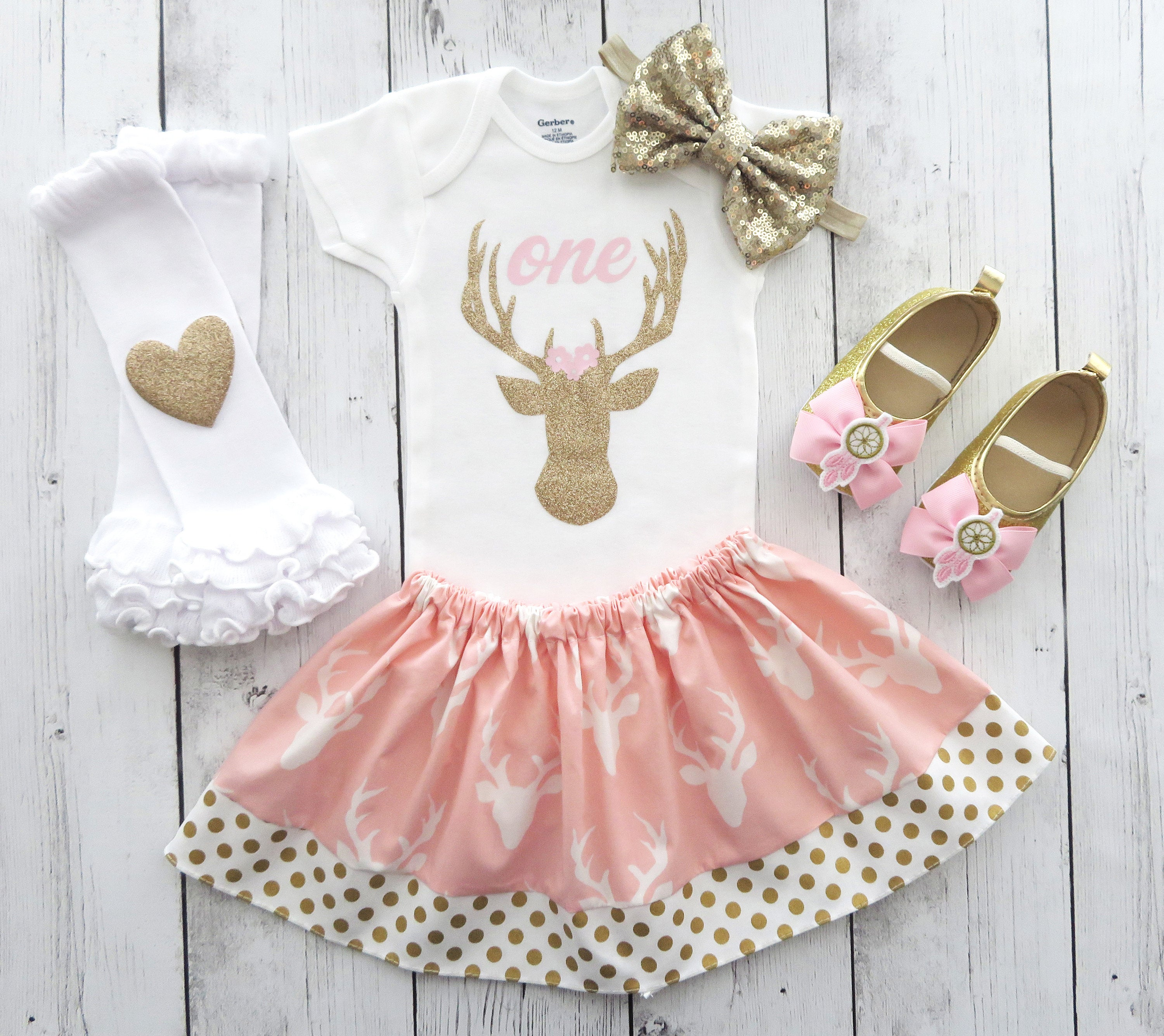 Deer First Birthday Outfit in pink and gold - wild one, deer flowers, pink gold dreamcatcher mocassins, little dear birthday, deer bday girl