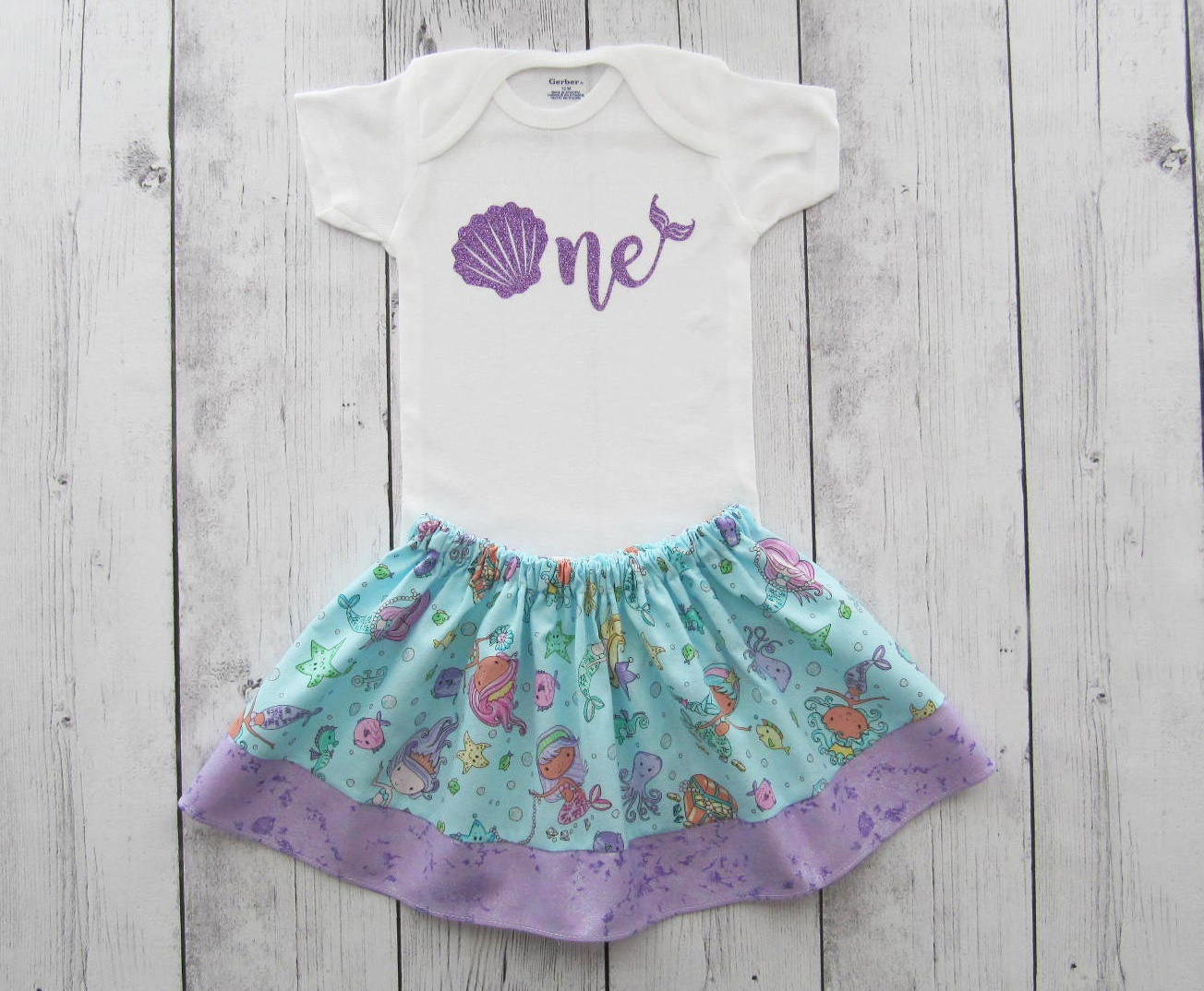 Mermaid First Birthday Outfit in purple aqua mermaid print -under the sea,girl birthday outfit, shell one, mermaid birthday