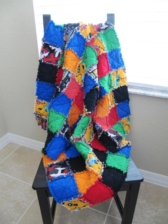 Boy's Rag Quilt Multicolor- blue, green, orange, red yellow, cars, planes, black, toddler blanket, boy's quilt, baby boy rag quilt