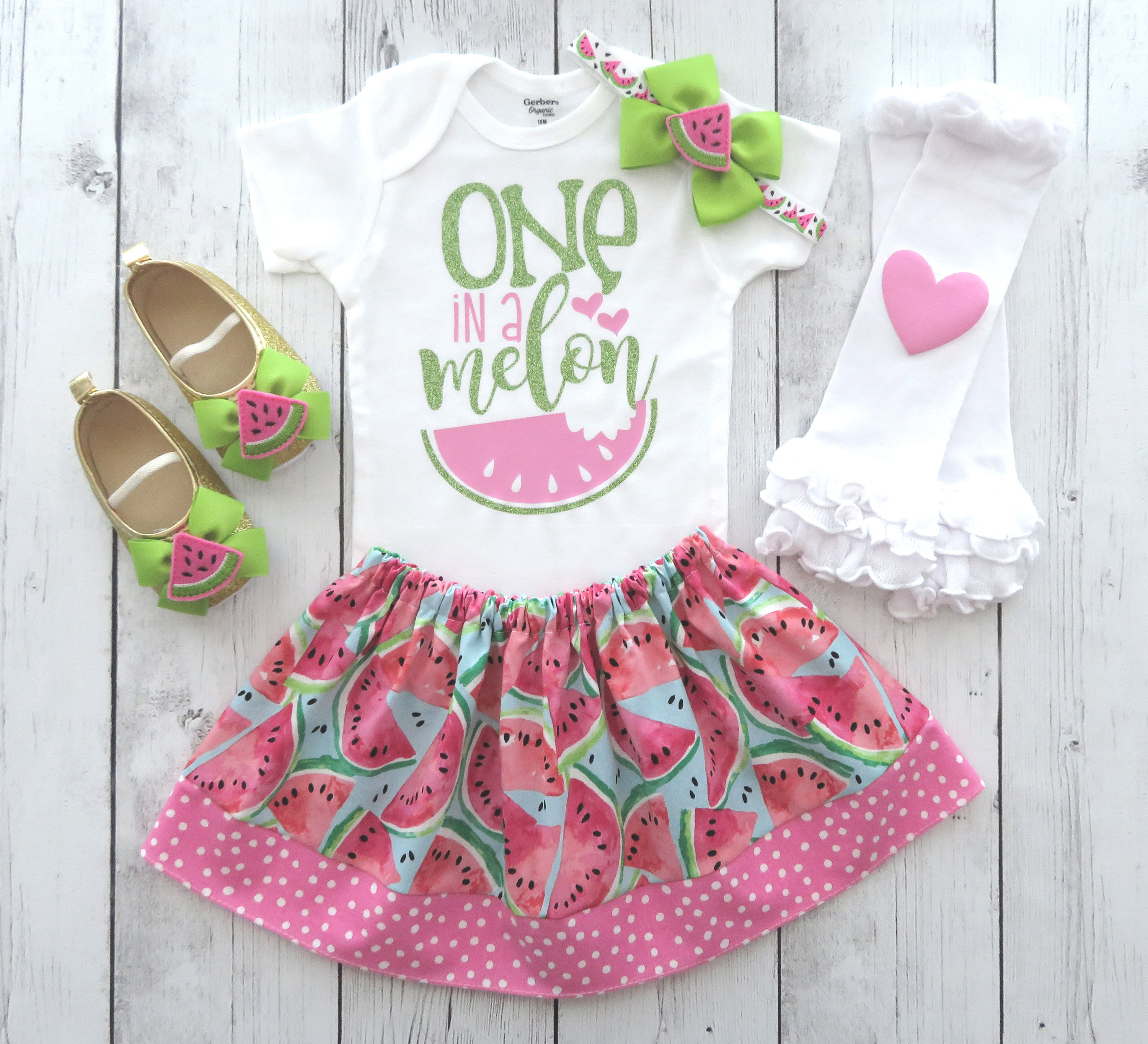 One in a Melon First Birthday Outfit for girl - watermelon birthday, 1st bday outfit girl, cake smash, summer birthday girl, 1st birthday