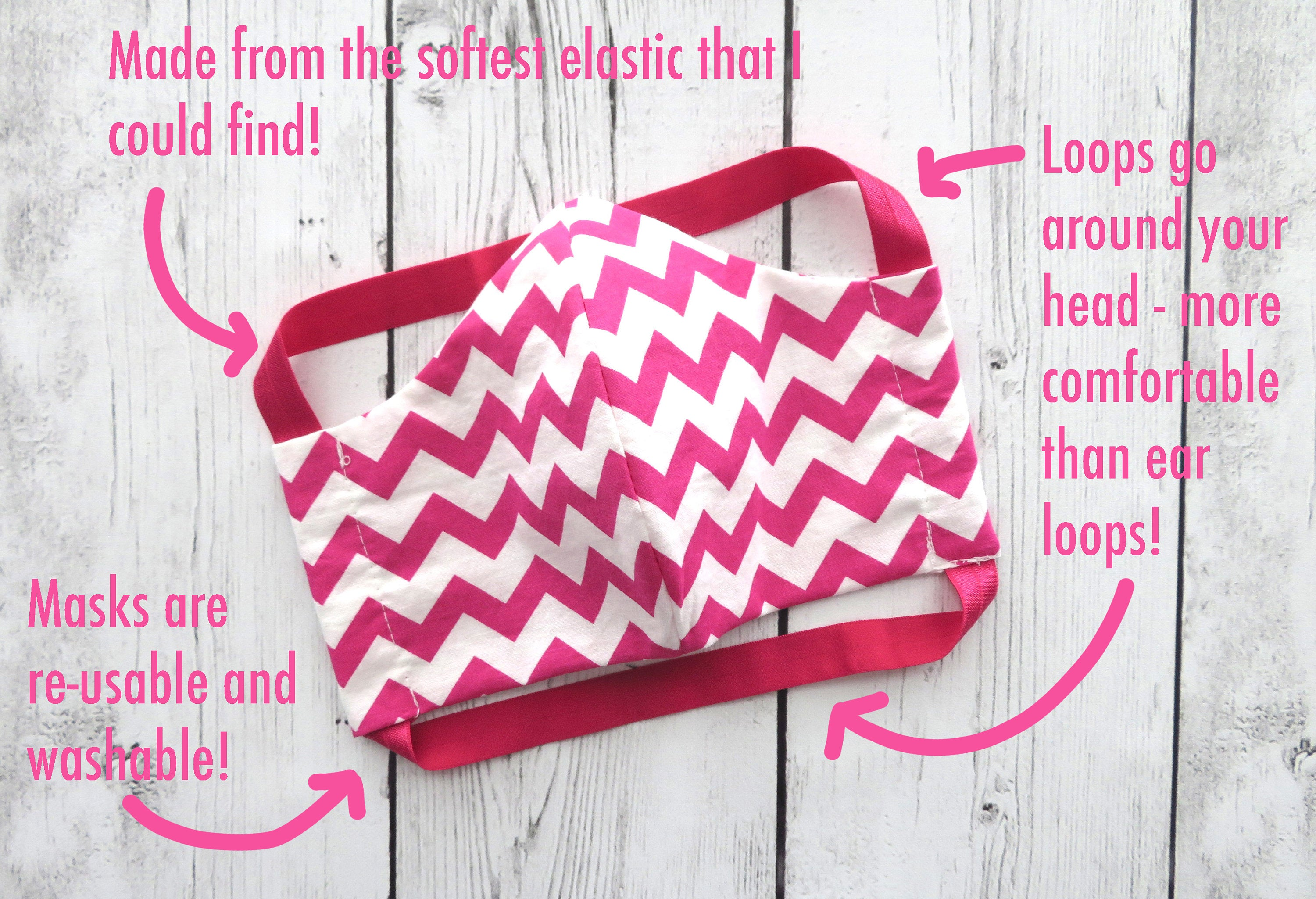 TEEN (Ages 9-15) Face Mask in hot pink chevron - handmade cotton, washable & re-usable, comfortable head elastic, teenager face mask