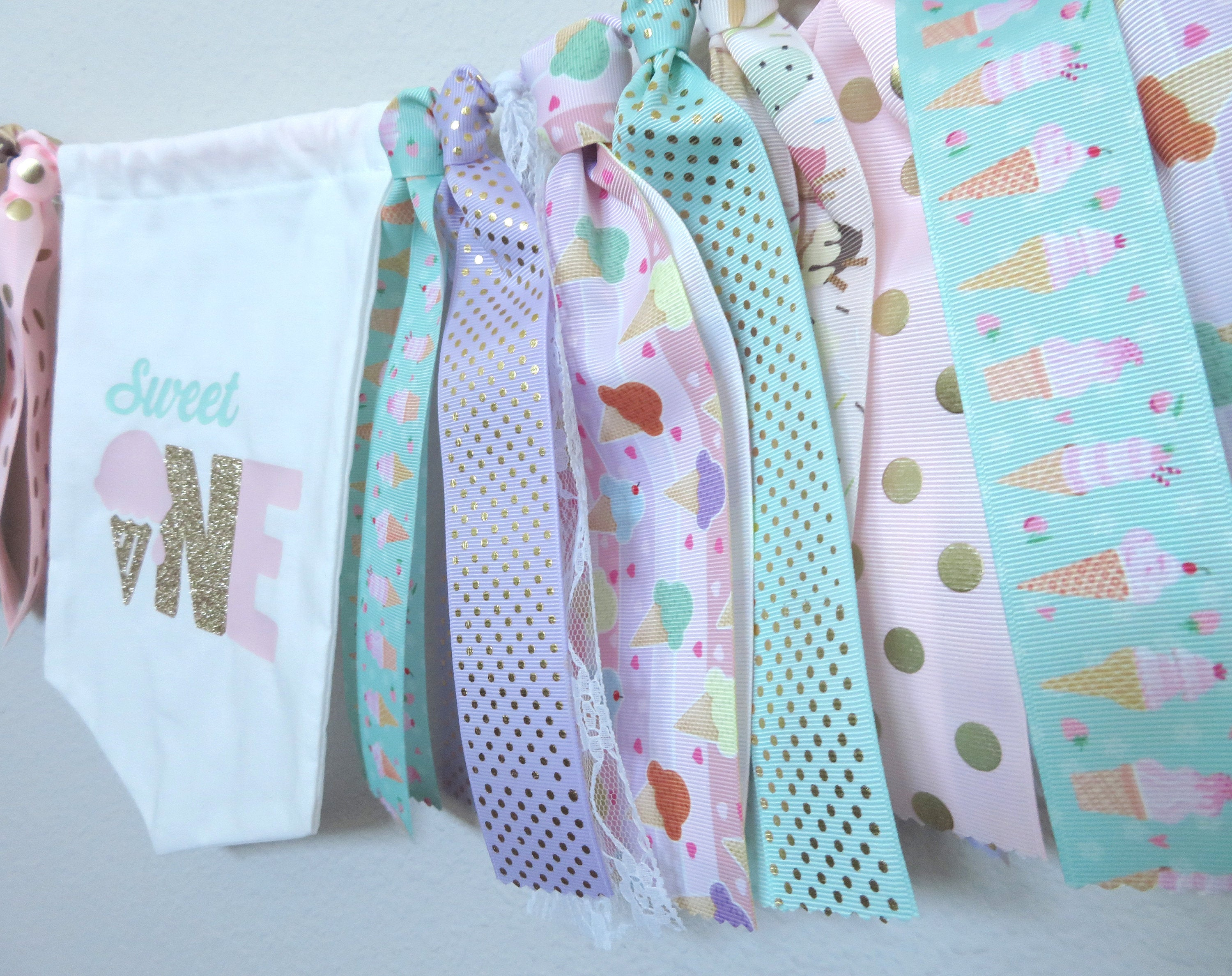 Ice Cream High Chair Banner for First Birthday -sweet one banner, ice cream pennant, ice cream bunting, sweet one 1st bday party deco