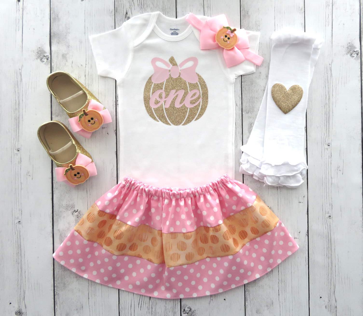 LAST ONE! - Pumpkin First Birthday Outfit for Girl - our little pumpkin is turning one, pink and gold pumpkin, 1st birthday outfit girl