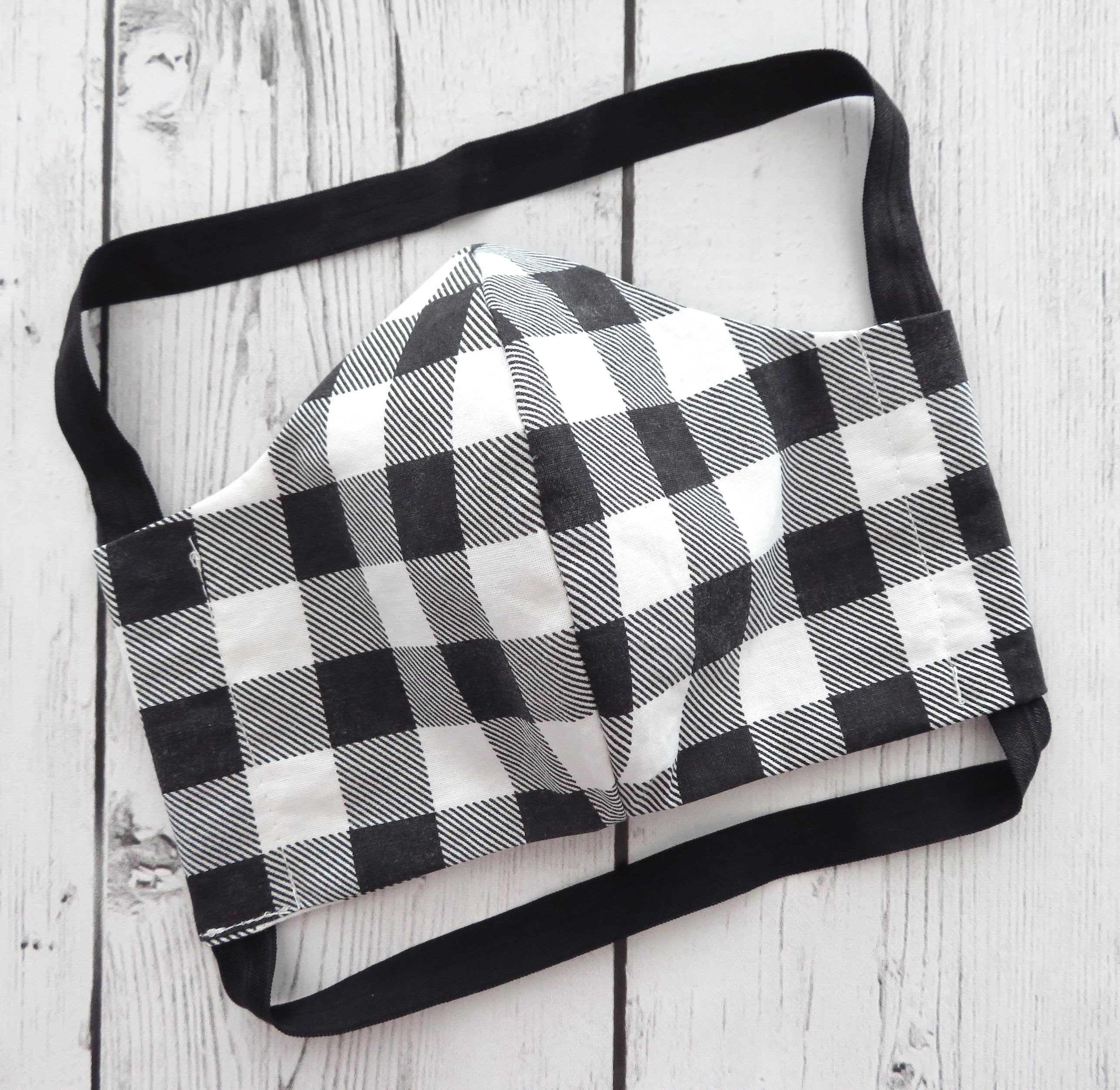 Adult Face Mask in Black and White Buffalo Check - READY TO SHIP from usa! - handmade cotton face mask, washable and re-usable, ear saver