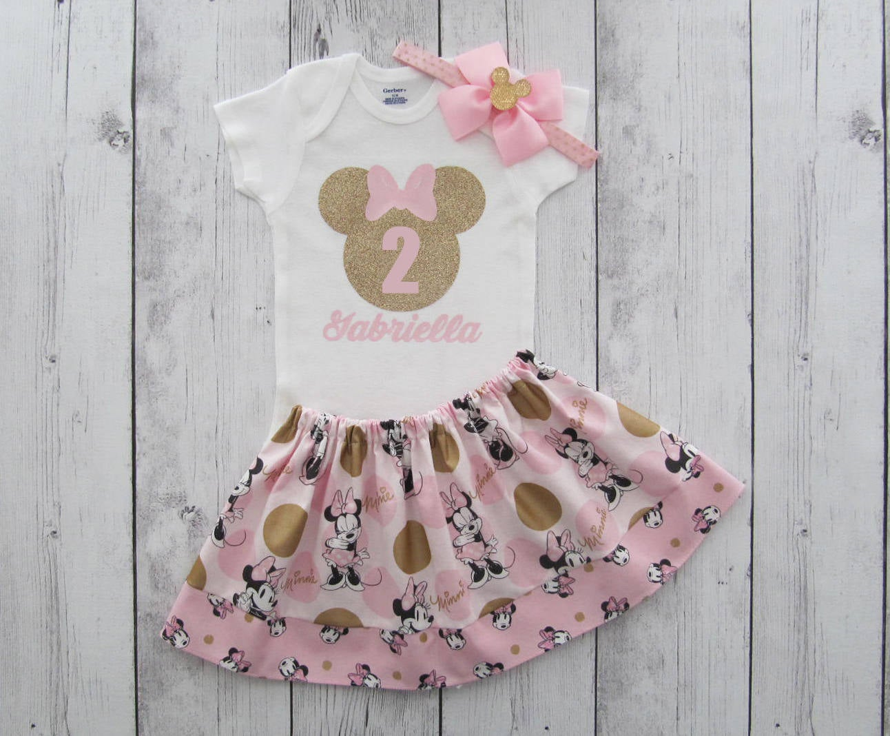 Minnie Mouse Second Birthday Outfit in pink and gold - onesie and skirt, minnie mouse ears, girl birthday, minnie mouse birthday