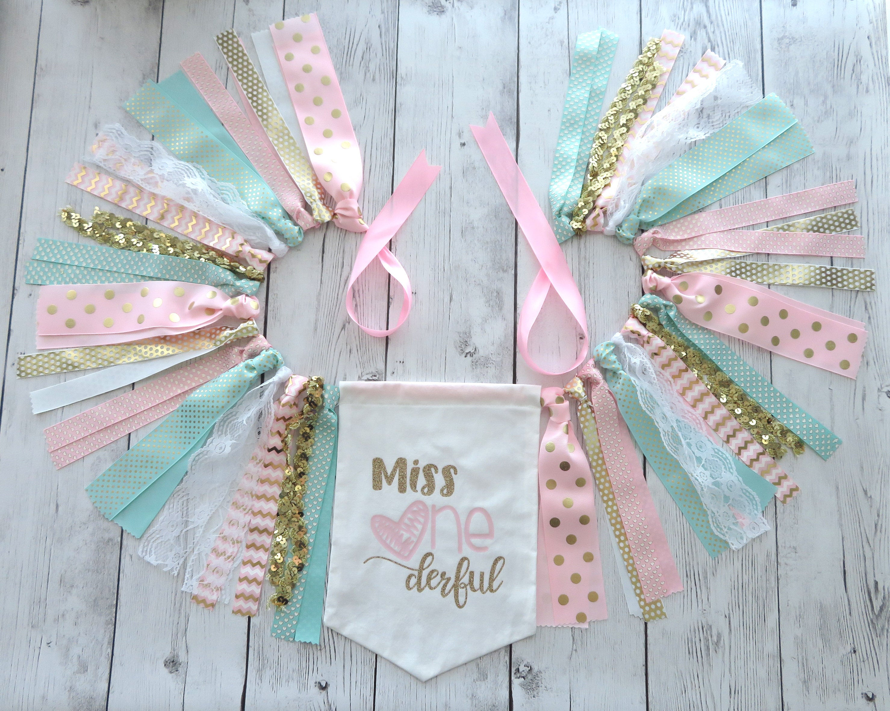 Miss ONEderful High Chair Banner for First Birthday - pink mint and gold banner, hearts pennant, bunting, miss onederful bday party