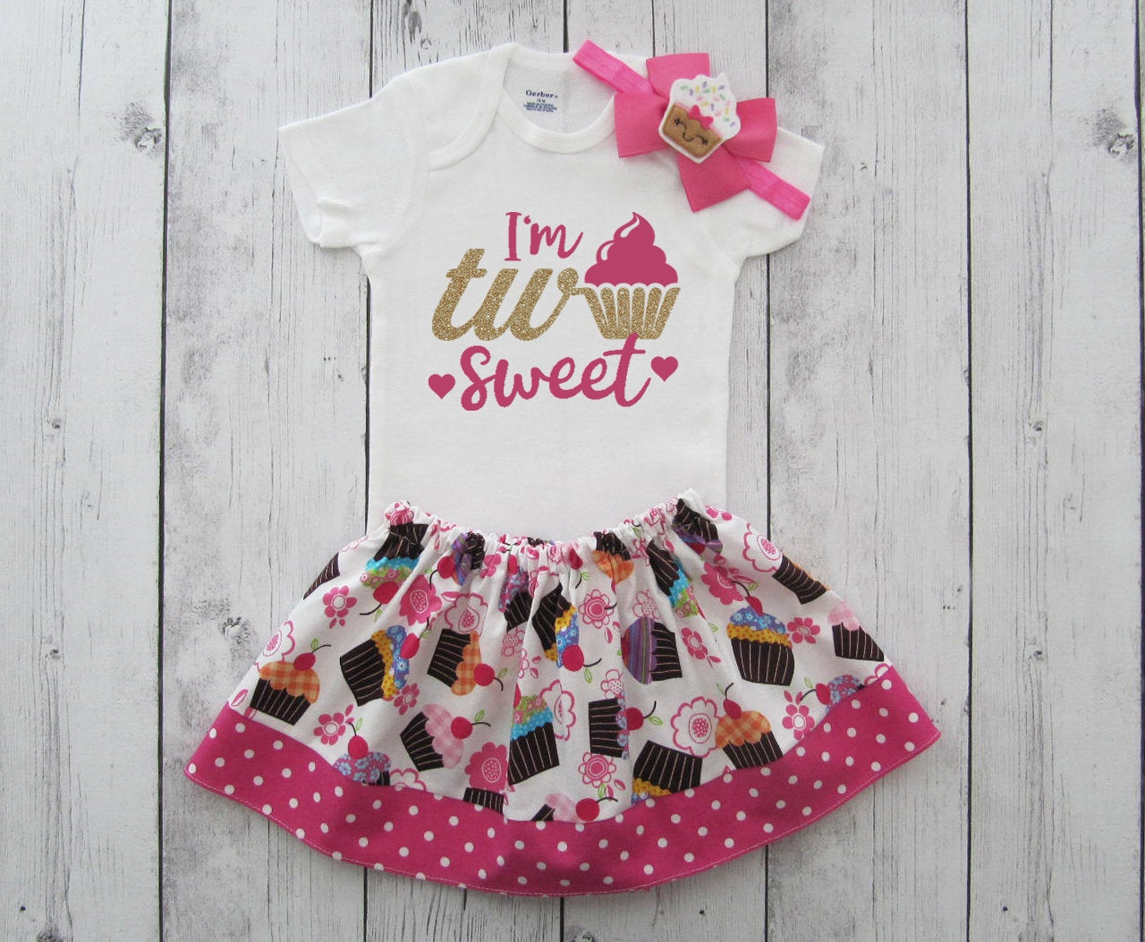 Two Sweet Birthday Outfit in Hot Pink and Gold - birthday outfit girl, cupcake birthday, second birthday outfit girl, 2nd bday outfit