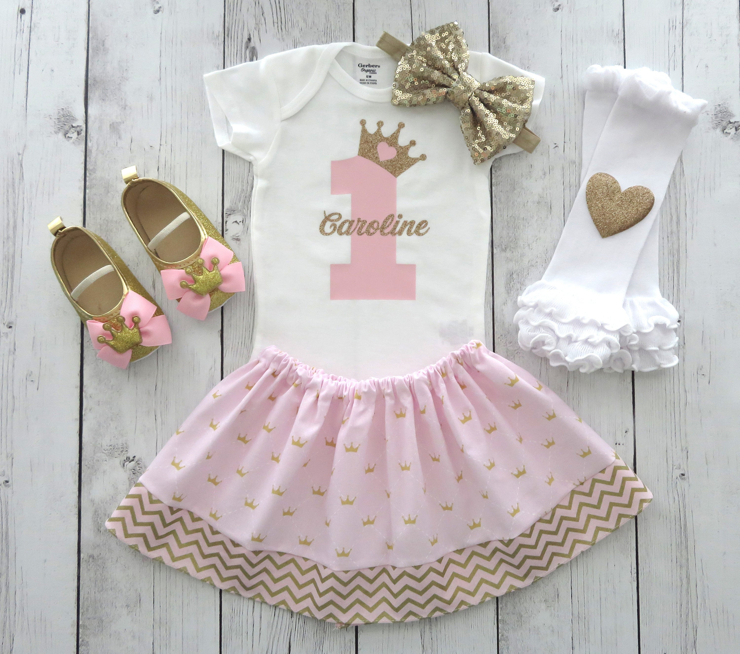 Princess First Birthday Outfit in pink and gold - girl 1st birthday, princess crown, personalized, pink and gold first birthday outfit