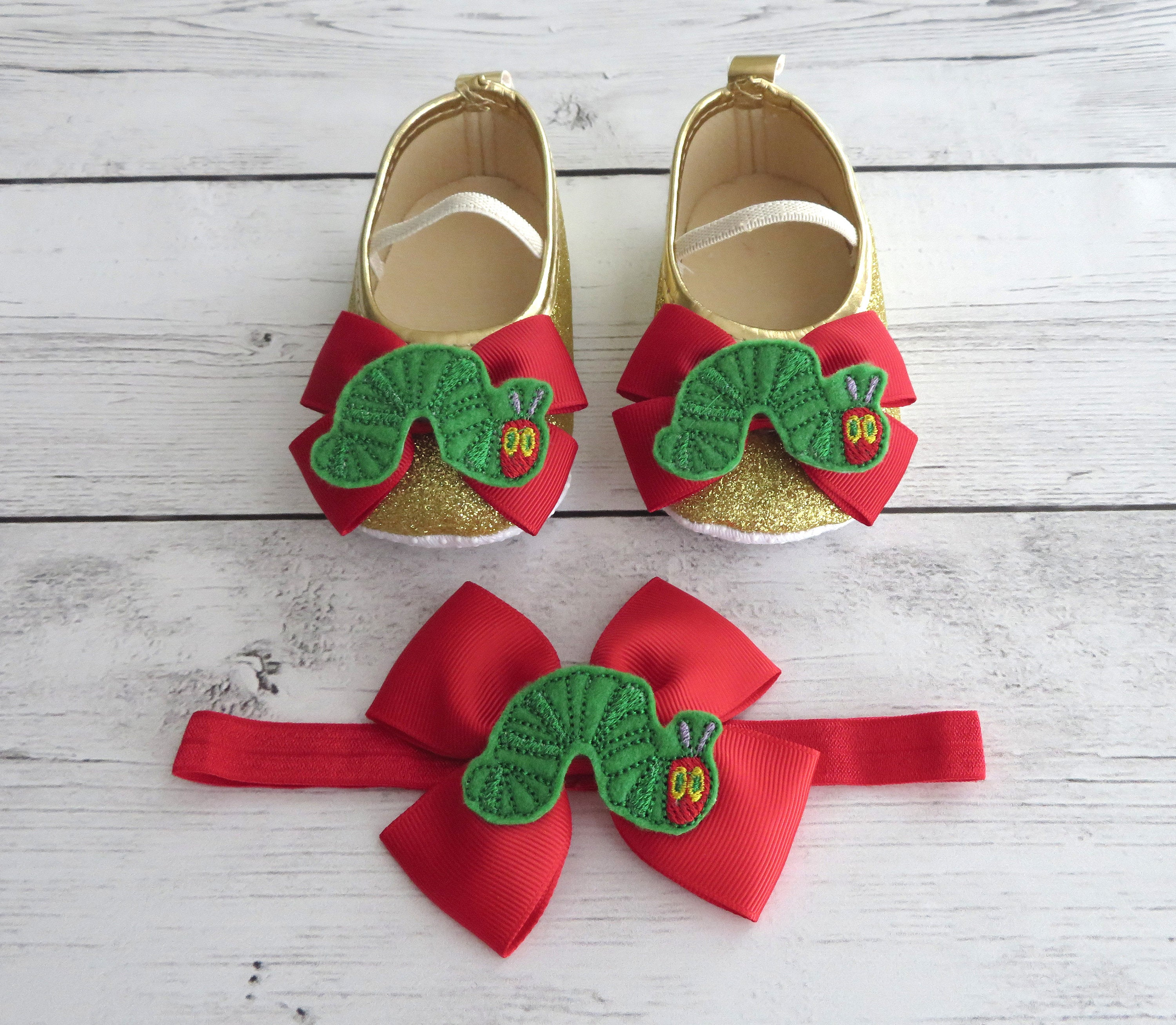Hungry Caterpillar First Birthday Shoes & Headband for Girl -  gold glitter shoes, 1st bday shoes red, caterpillar birthday girl,