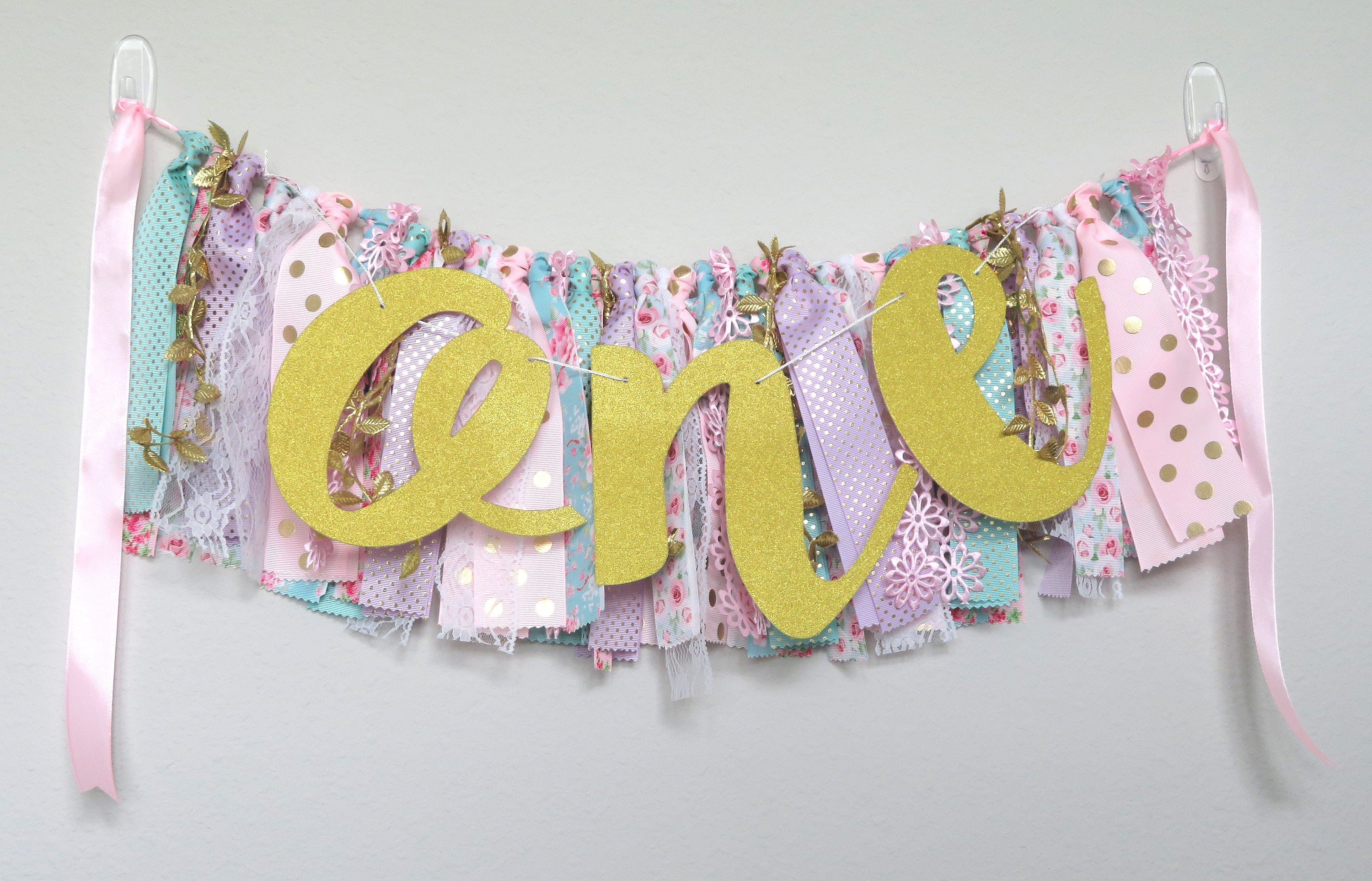 Floral First Birthday Banner for First Birthday Party -high chair banner, wall banner, flower pennant, floral party decor, 1st birthday girl