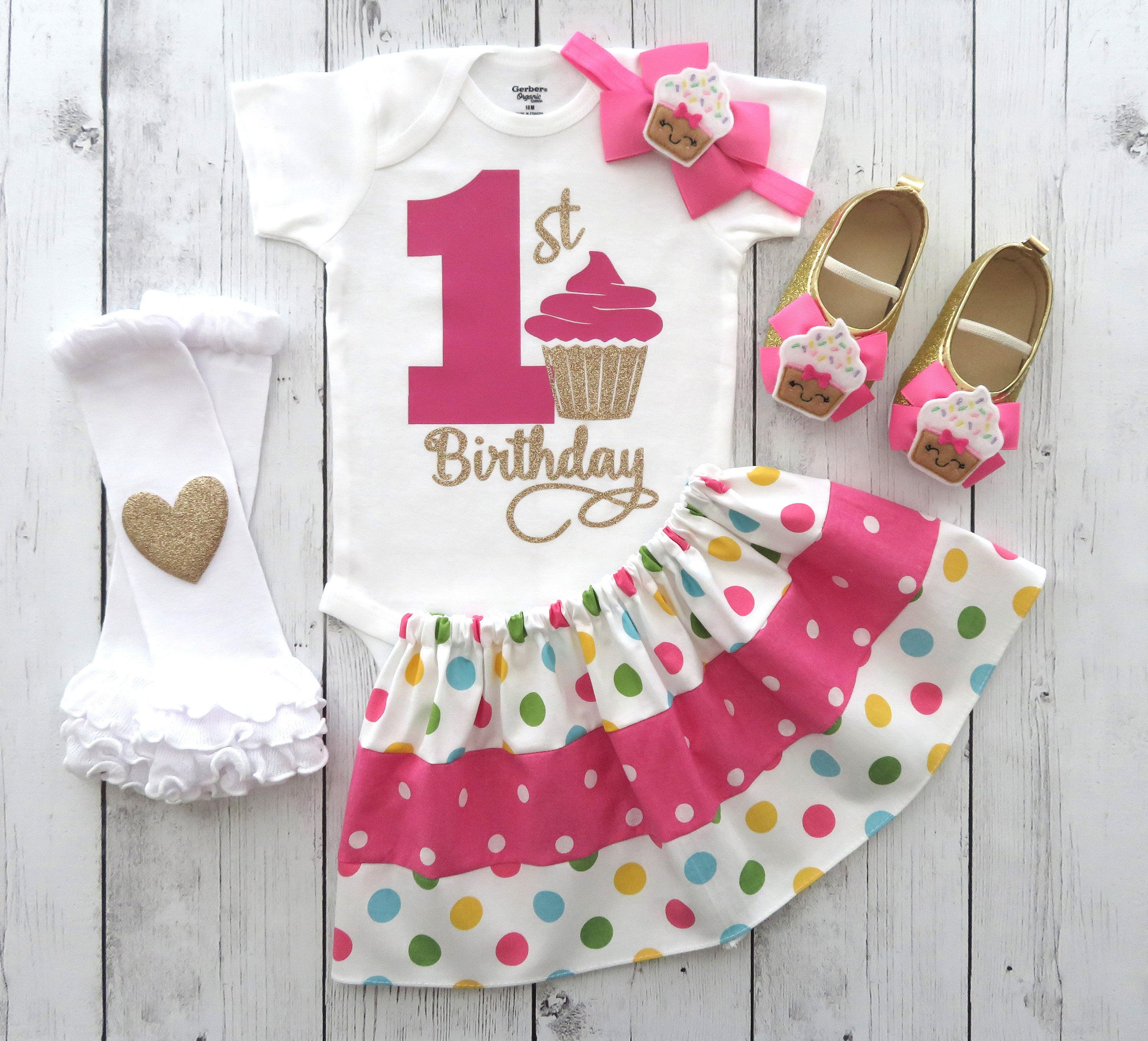 LAST ONE! - Cupcake First Birthday Outfit for Girl with polka dot skirt and cupcake shoes - sweet one, 1st bday outfit, one year old