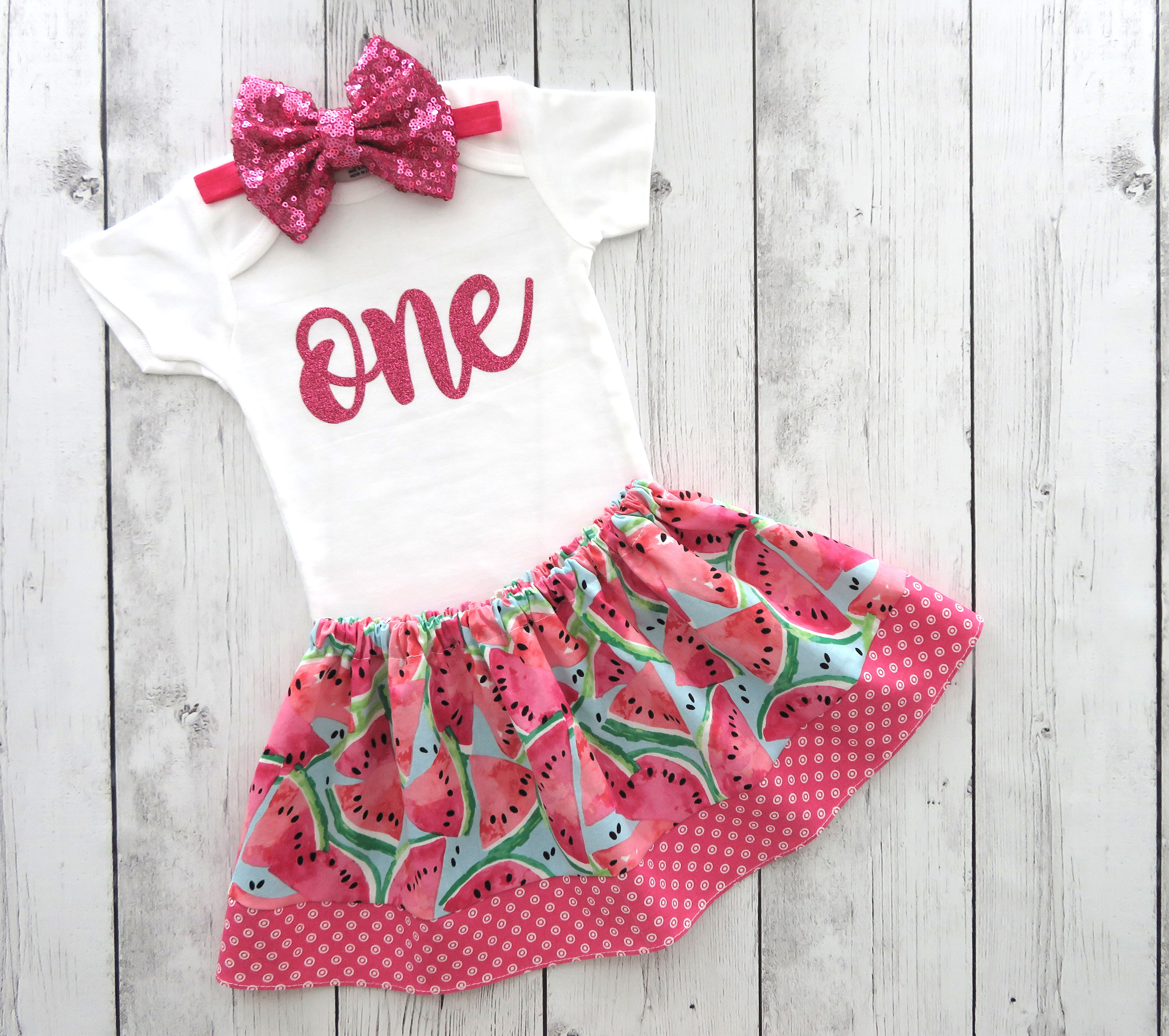 Watermelon First Birthday Outfit for girl with pink glitter onesie - one in a melon birthday, 1st bday outfit, summer bday, melon bday girl