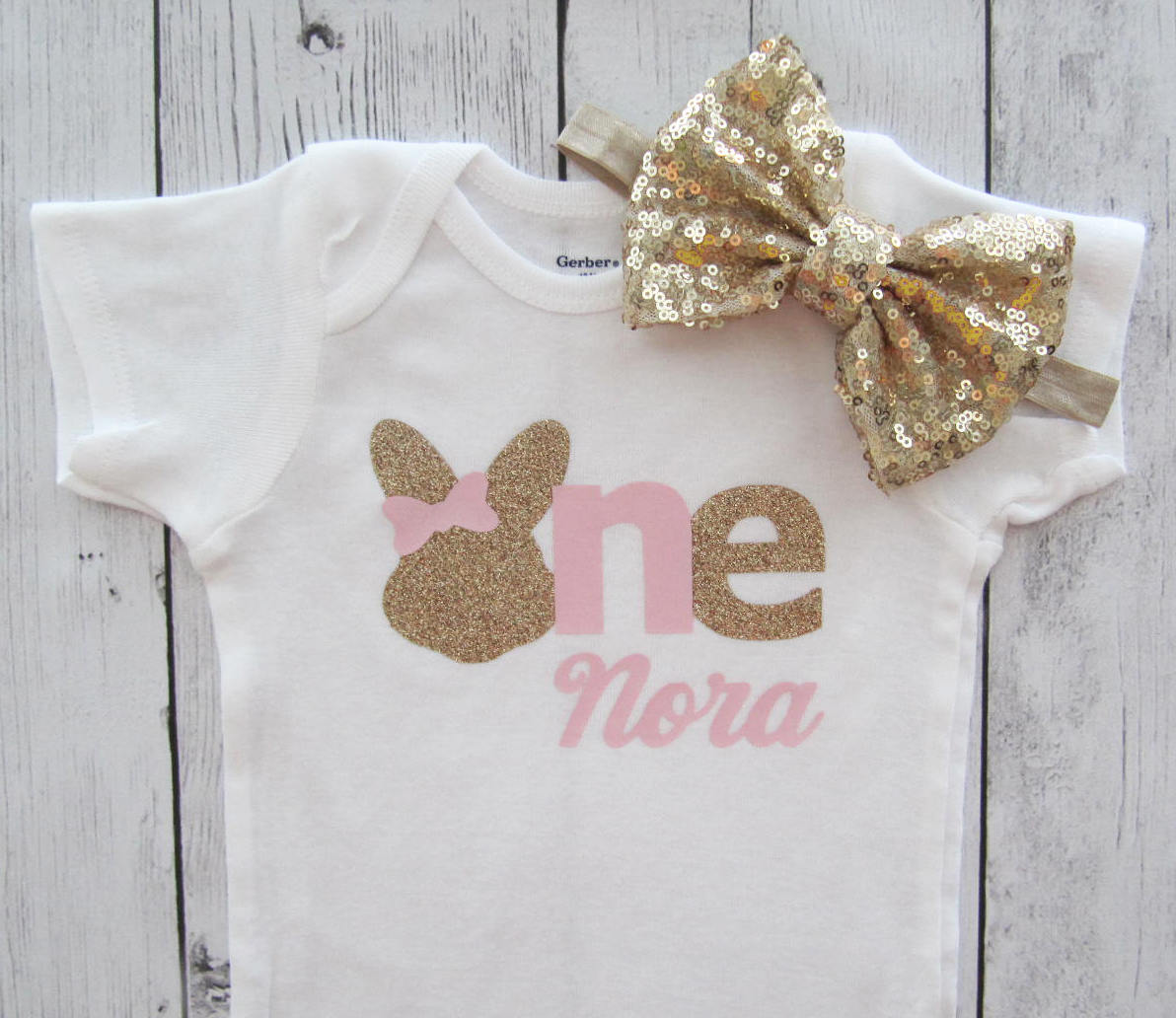 Bunny First Birthday Onesie in pink and gold- some bunny is one, bunny first birthday shirt, bunny birthday outfit girl, bunny 1st birthday