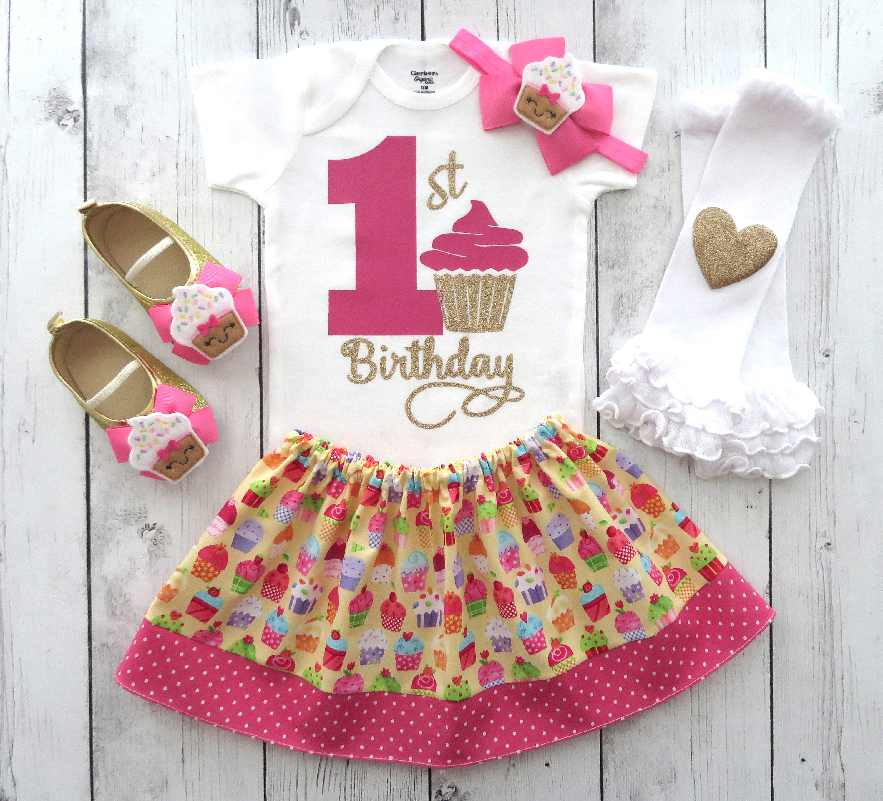 Cupcake First Birthday Outfit Girl in pink and yellow with cupcake shoes - 1st bday outfit, first birthday girl, sweet one birthday outfit