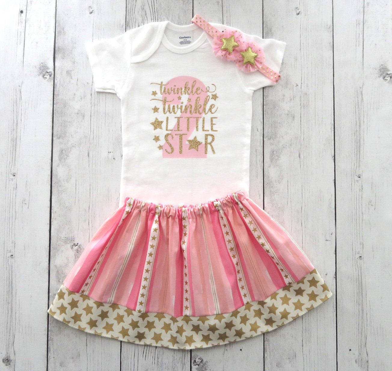 Twinkle Twinkle Little Star Second Birthday Outfit in Pink and Gold - girl 2nd birthday outfit, pink gold star birthday outfit, twinkle