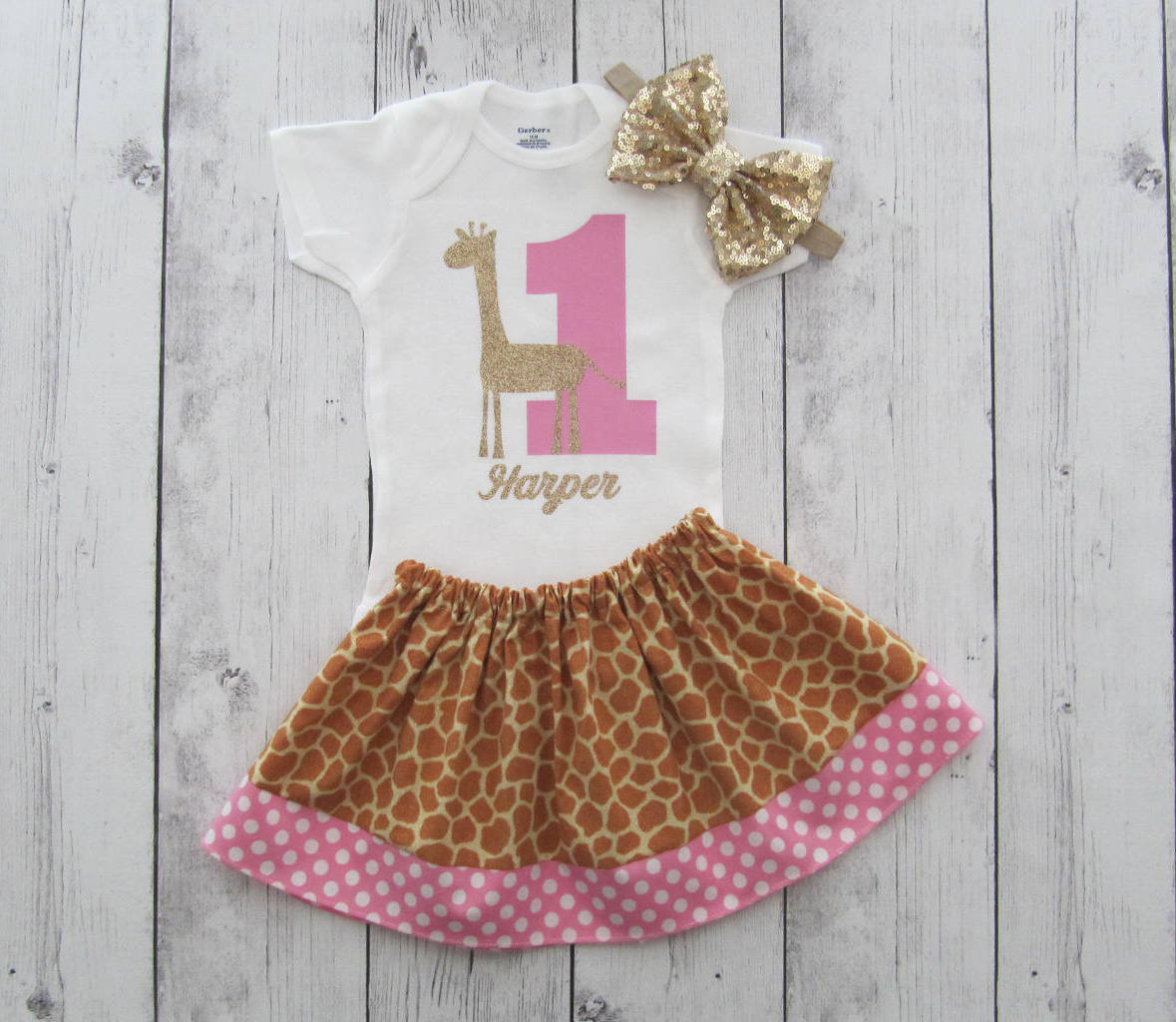Giraffe First Birthday Outfit - twirl skirt, girl first birthday, cake smash, giraffe print, pink dot, giraffe first birthday, giraffe pink