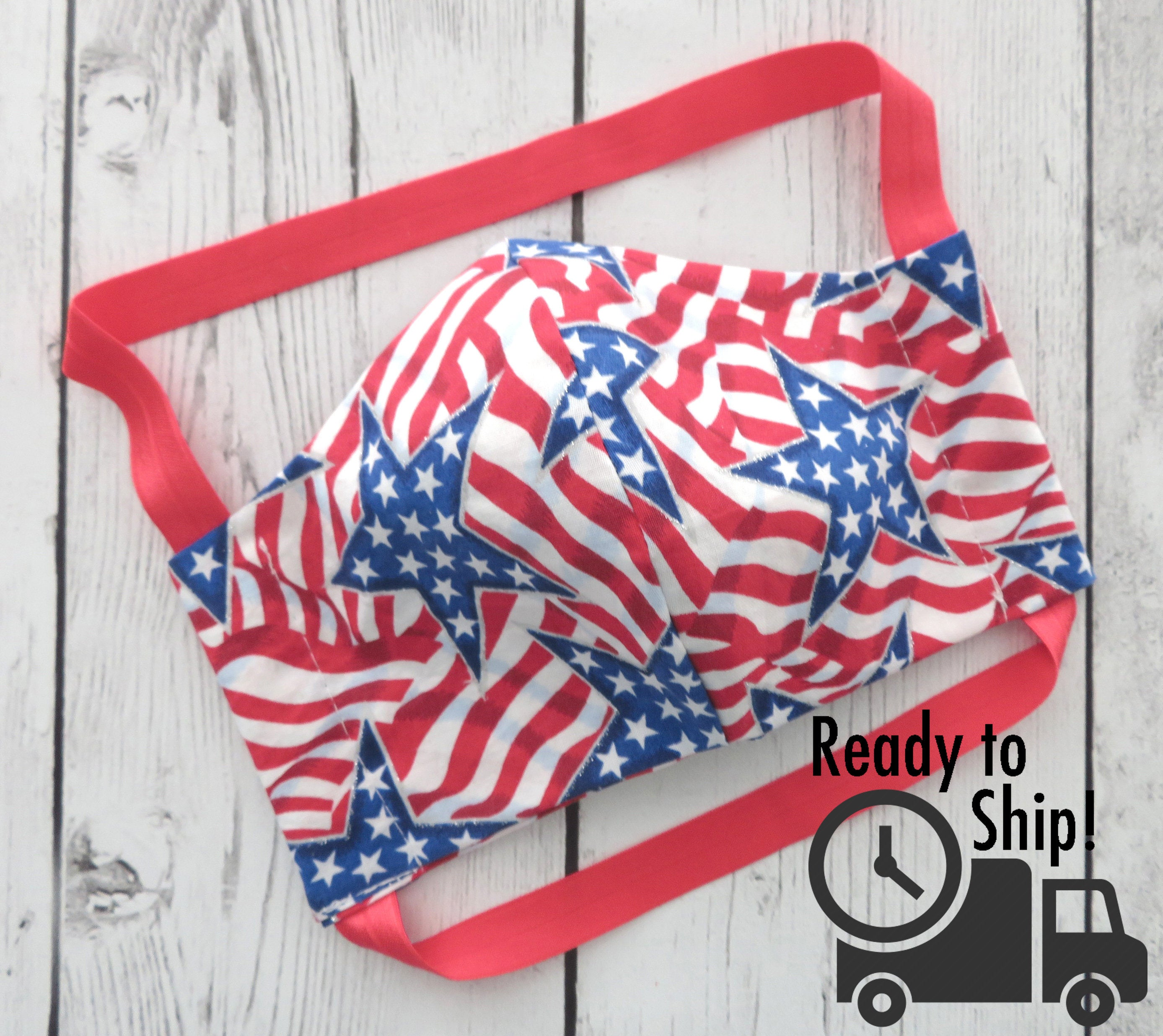 American Flag Face Mask - READY TO SHIP! handmade cotton face mask for adult, re-usable, washable, patterned face mask, patriotic face mask