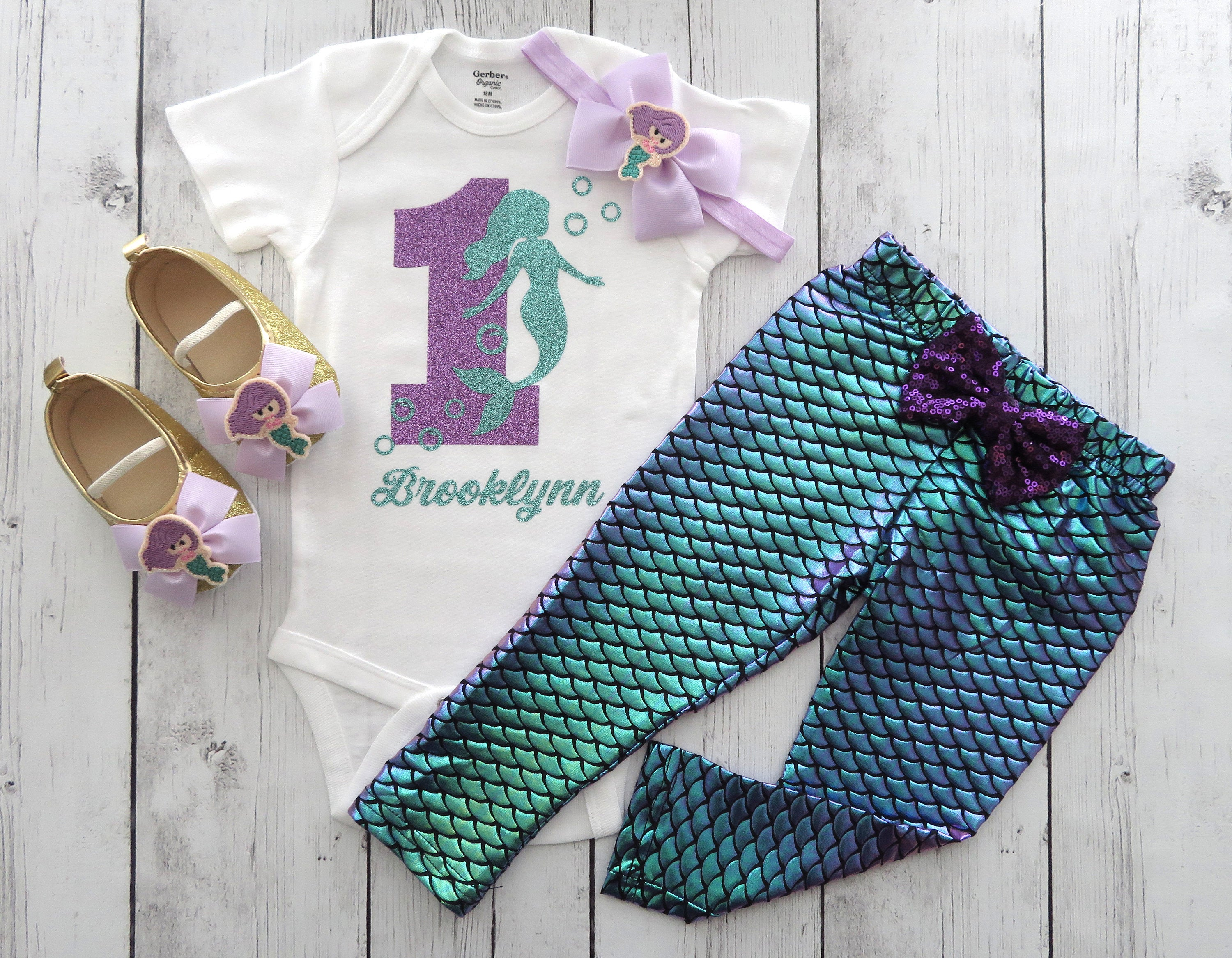 Mermaid First Birthday Outfit in Purple and Aqua with mermaid scale pants / leggings -under the sea, mermaid 1st bday outfit, mermaid outfit