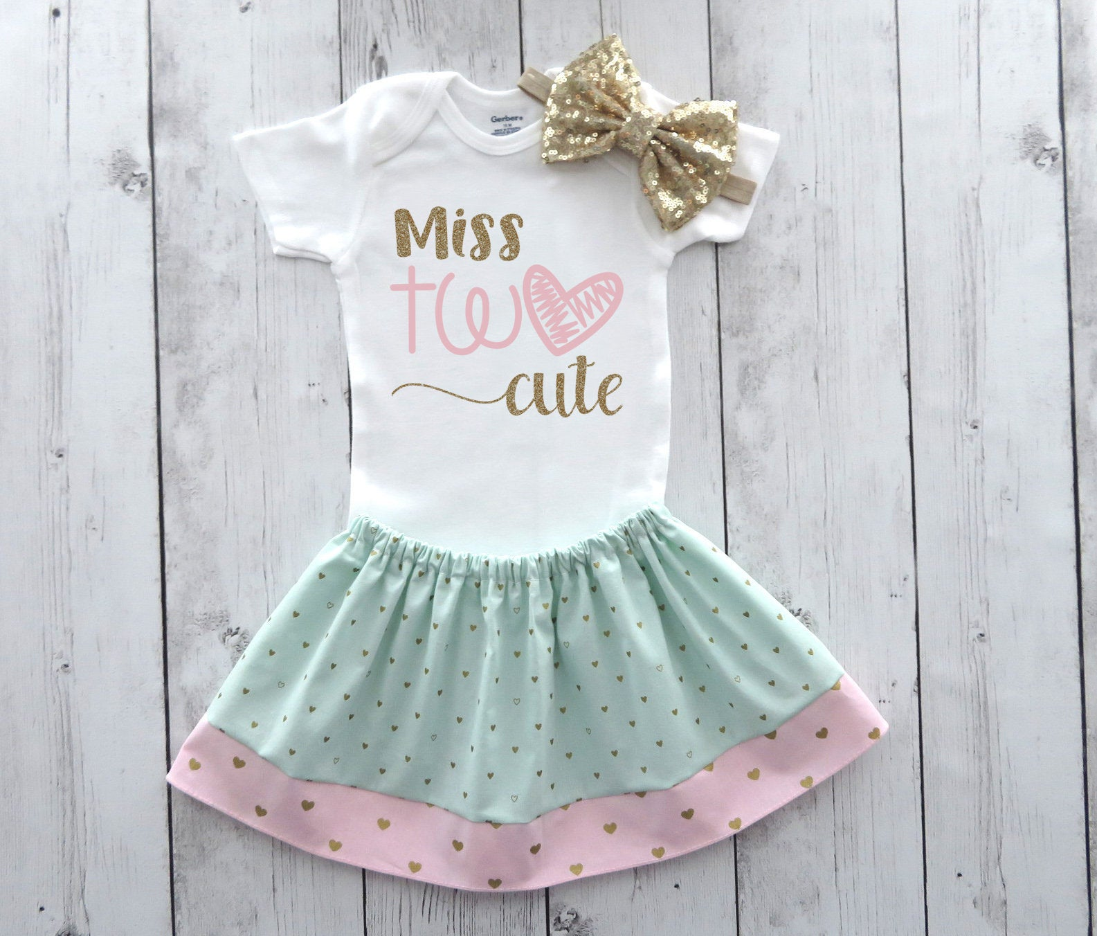Second Birthday Outfit for Baby Girl in mint, pink and gold - Miss Two Cute birthday outfit, heart birthday girl, two cute birthday party