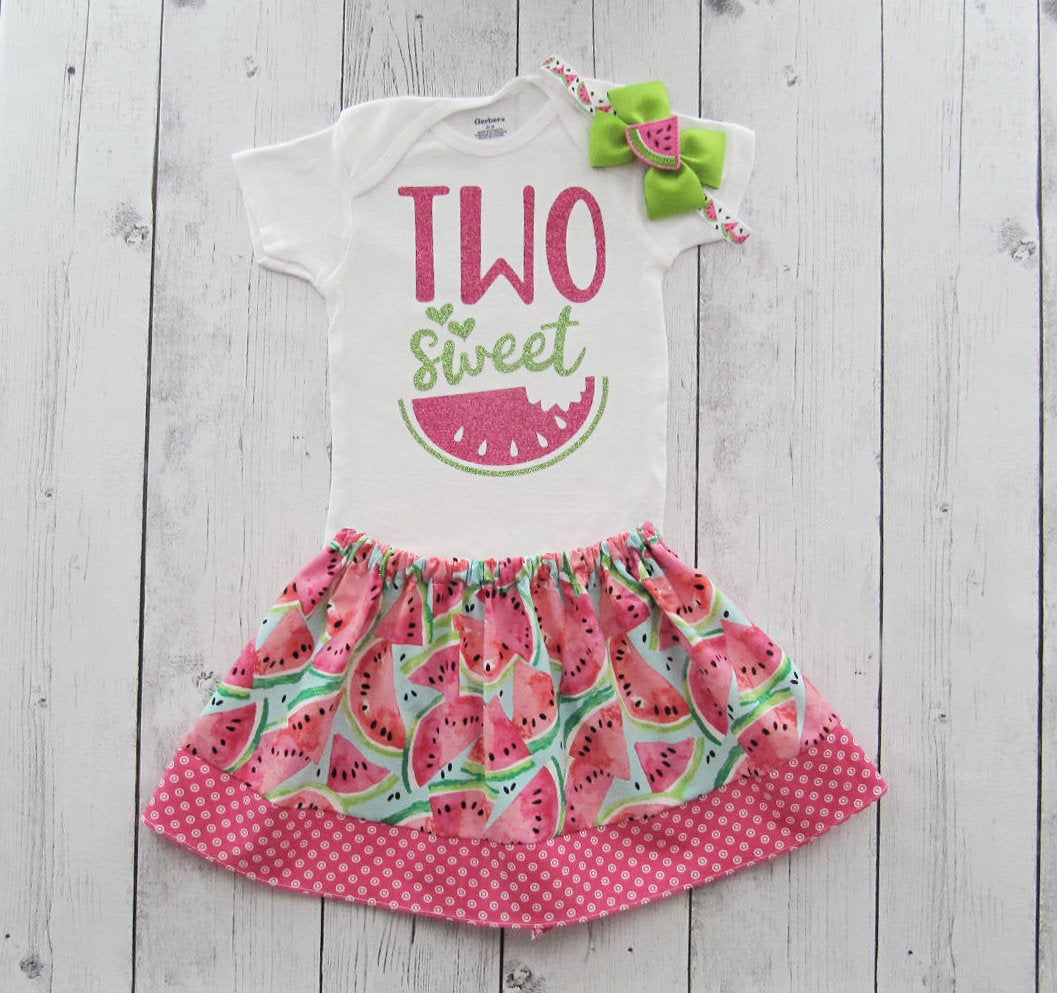 Two Sweet Birthday Outfit with watermelon skirt - watermelon birthday outfit girl, second birthday, two sweet birthday girl, two sweet dress