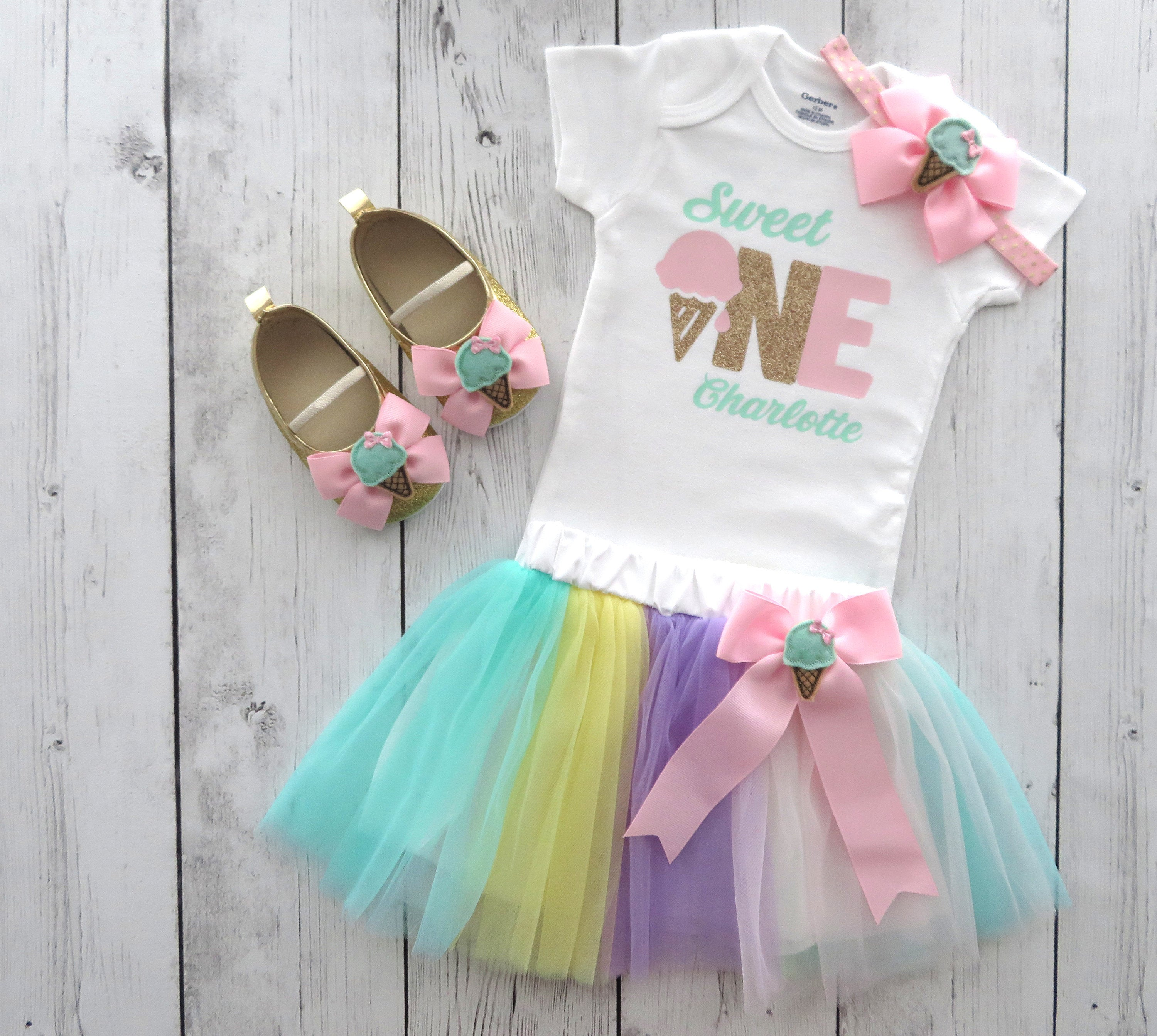Sweet One First Birthday Outfit with Pastel Rainbow Tutu skirt - ice cream 1st bday girl, ice cream shoes, summer birthday, bday outfit tutu