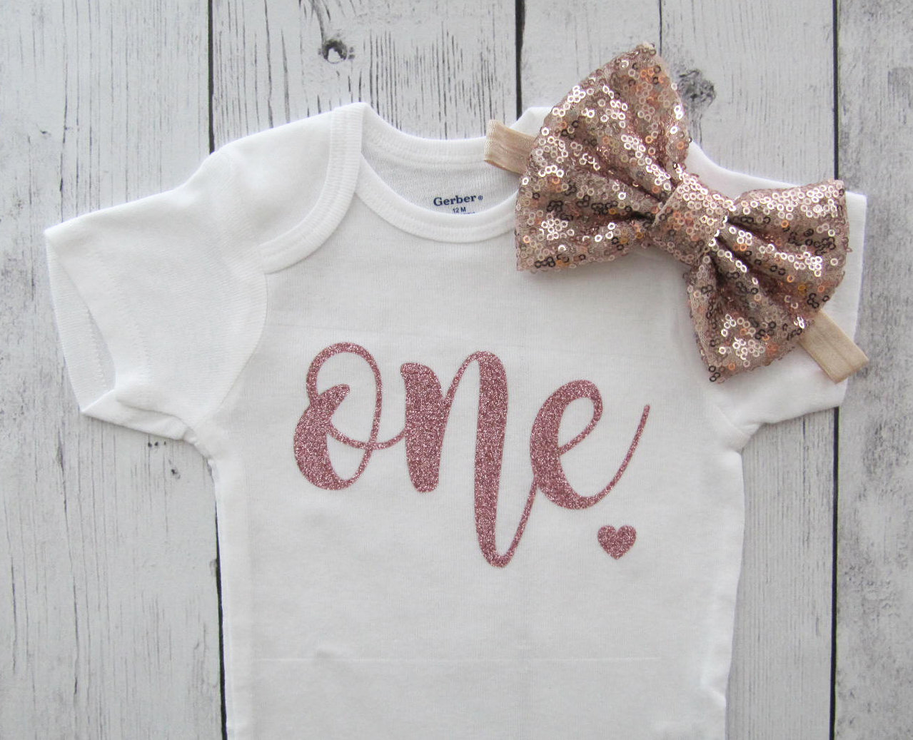Rose Gold Glitter One First Birthday Onesie - baby girl, rose gold headband, rose gold birthday girl, rose gold birthday onesie, rose gold