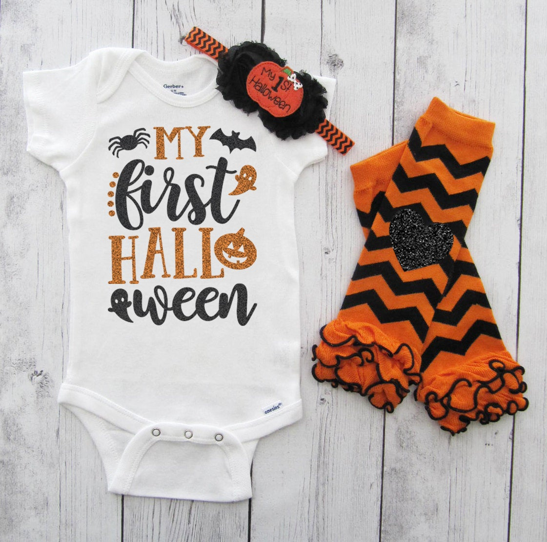 My First Halloween Outfit - baby girl first halloween outfit, orange black, first halloween costume, pumpkin halloween, leg warmers