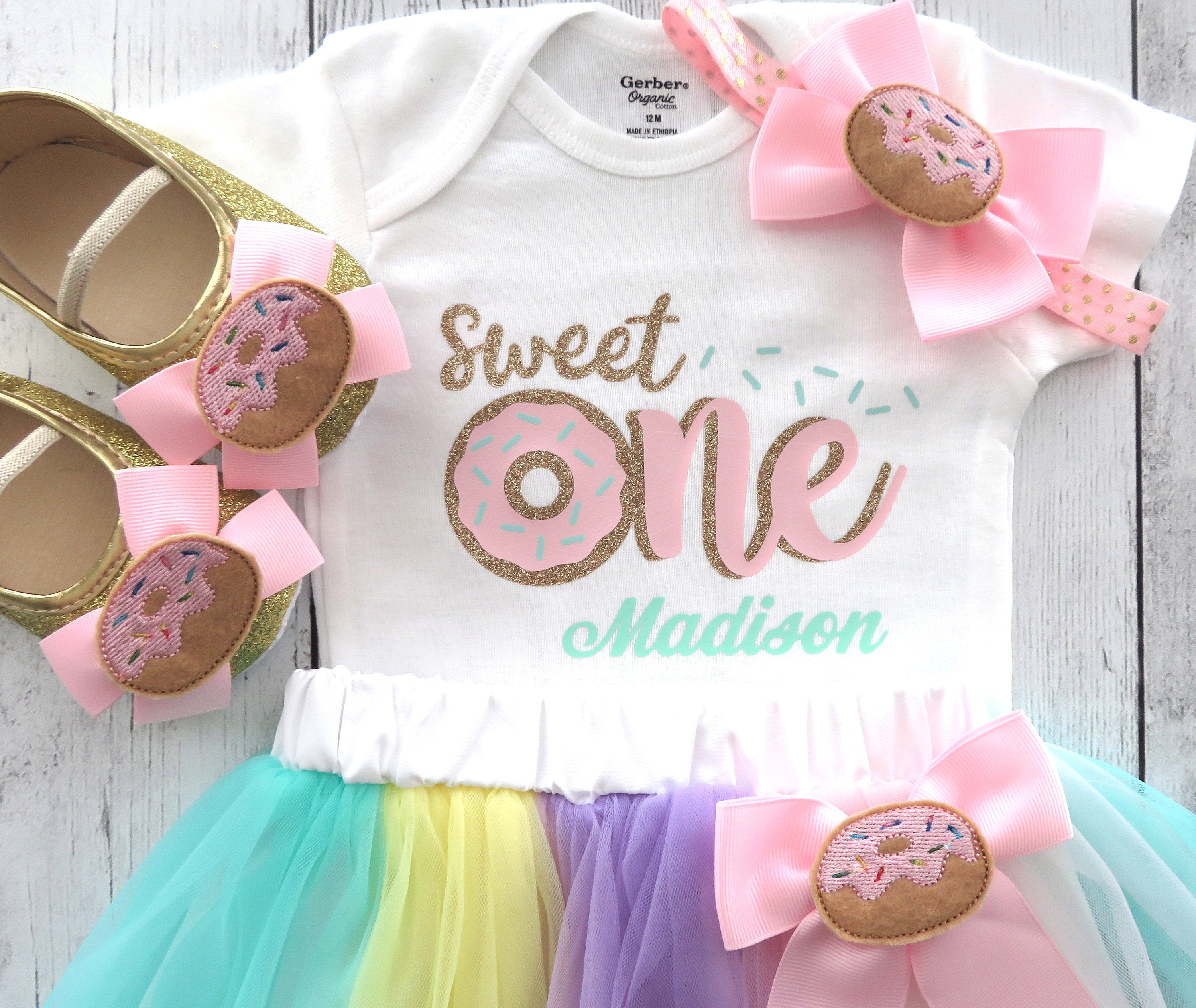 Donut First Birthday Outfit for Girl with tutu and donut shoes - Sweet One Birthday, Donut Grow Up, Donut 1st bday girl, donut bday tutu