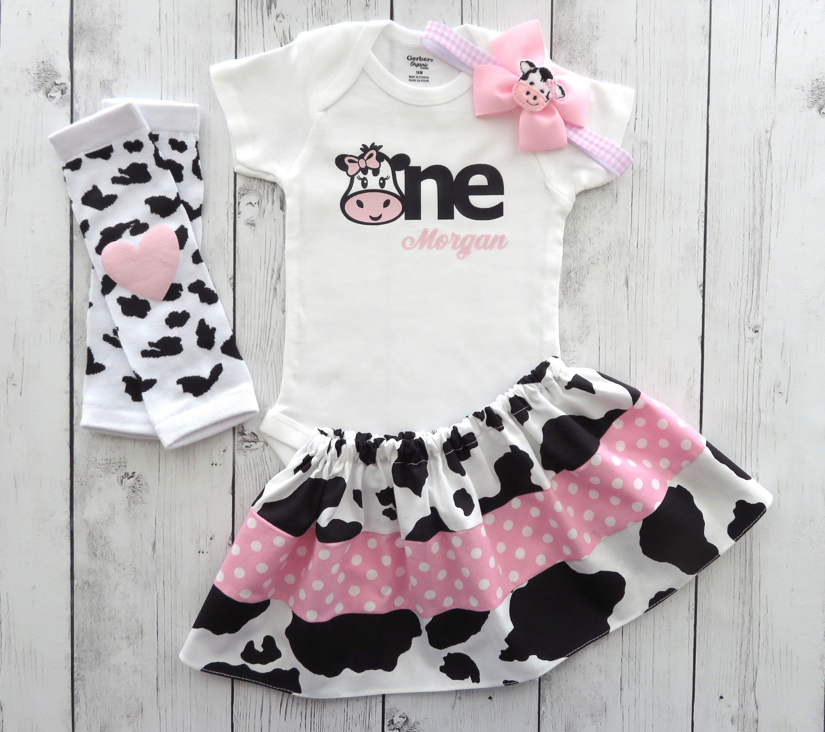 LAST ONE! - Barnyard First Birthday Outfit in pink cow print - cow 1st birthday girl, farm animal first birthday pink, cow birthday outfit