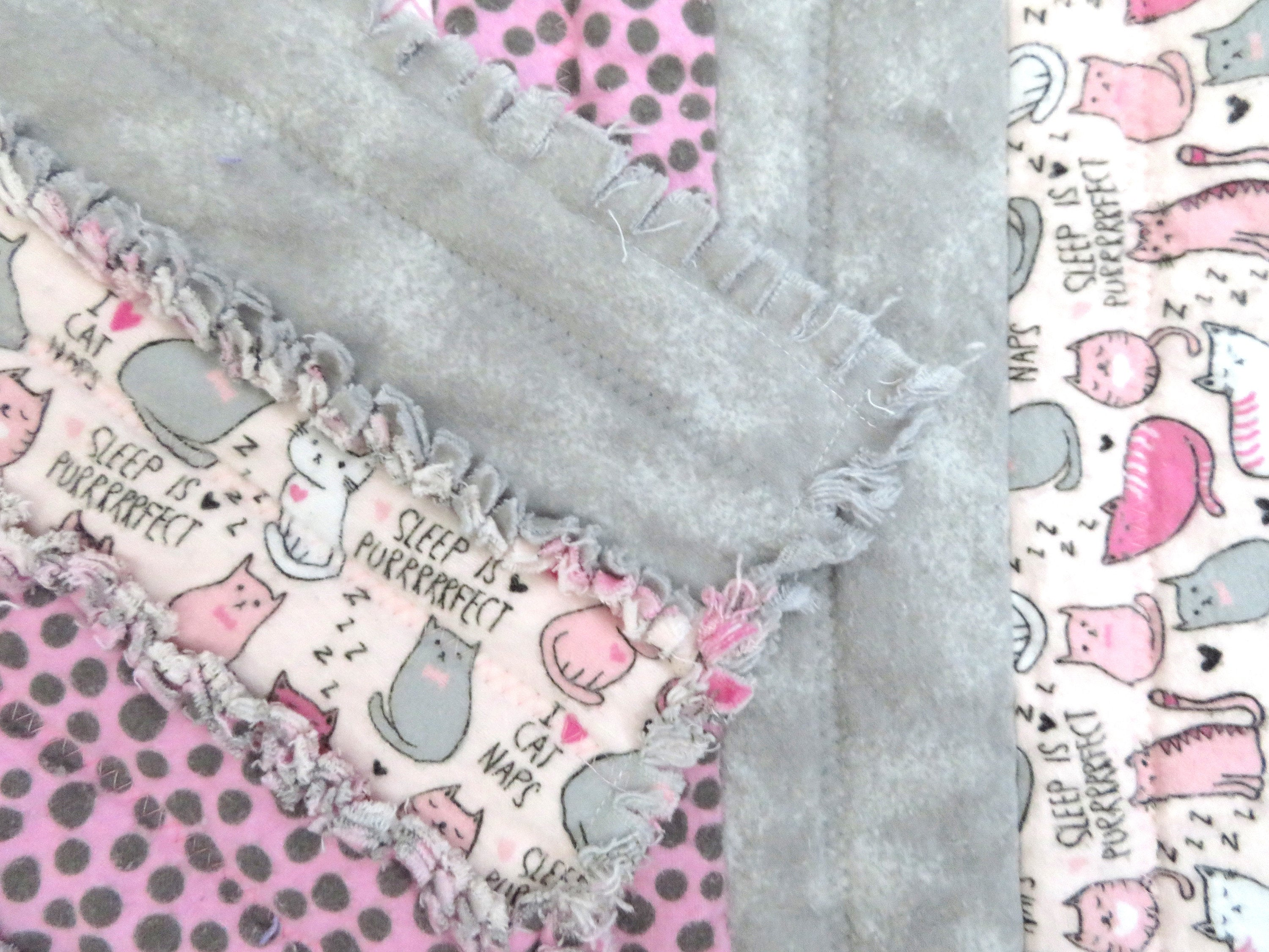 Cat Themed Rag Quilt for Baby Girl in pink and grey -toddler blanket, striped rag quilt, baby shower gift, stroller blanket, baby girl quilt