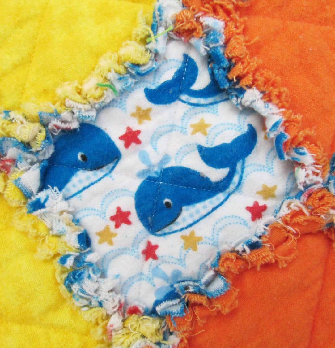 Whale Nursery Baby Boy Quilt - blue whales, red, orange, yellow
