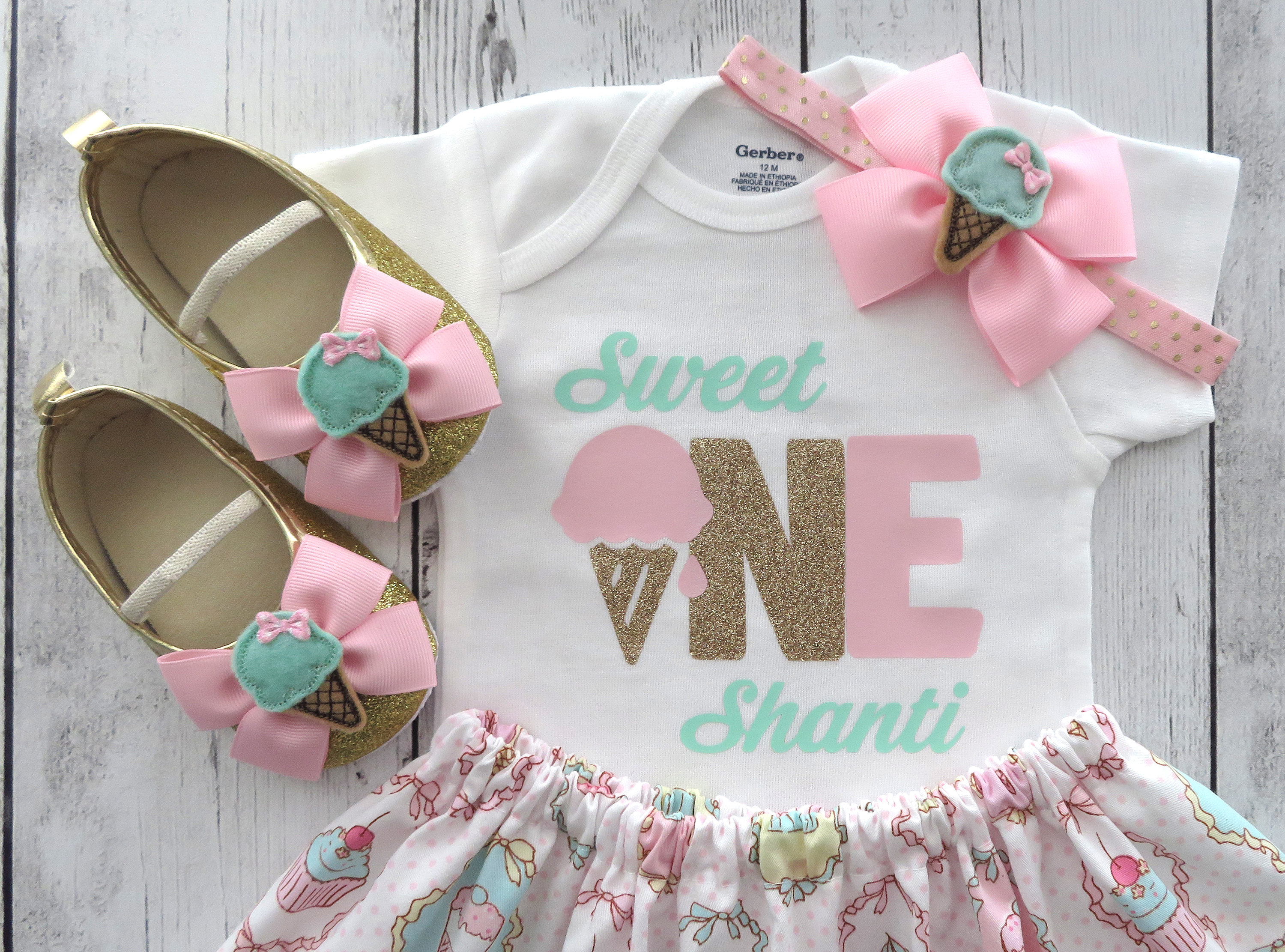 Sweet One First Birthday Outfit in pink and gold - ice cream birthday girl, headband, ice cream cone, ice cream parlor, vintage ice cream