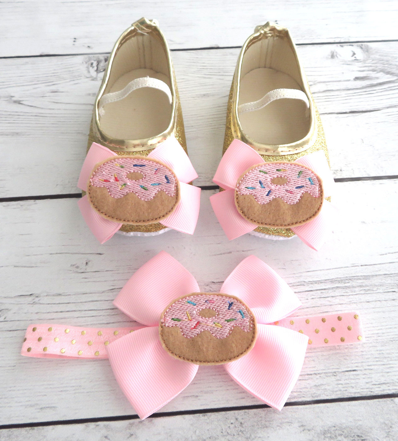Donut First Birthday Shoes & Headband for Girl in light pink and gold- donut grow up, doughnut 1st bday girl, sweet one birthday girl