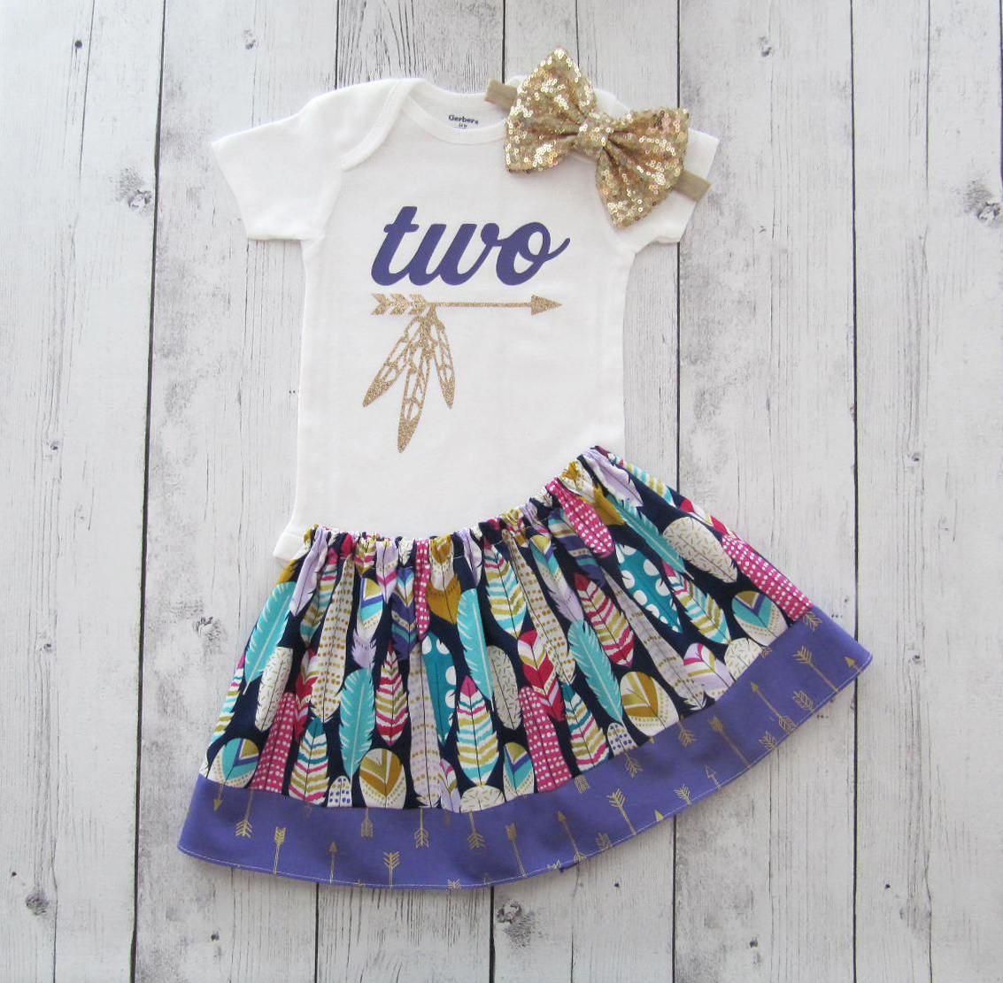 Two Wild Birthday Outfit for Girl - feather skirt, tribal two birthday outfit, two year old birthday, two wild birthday outfit girl