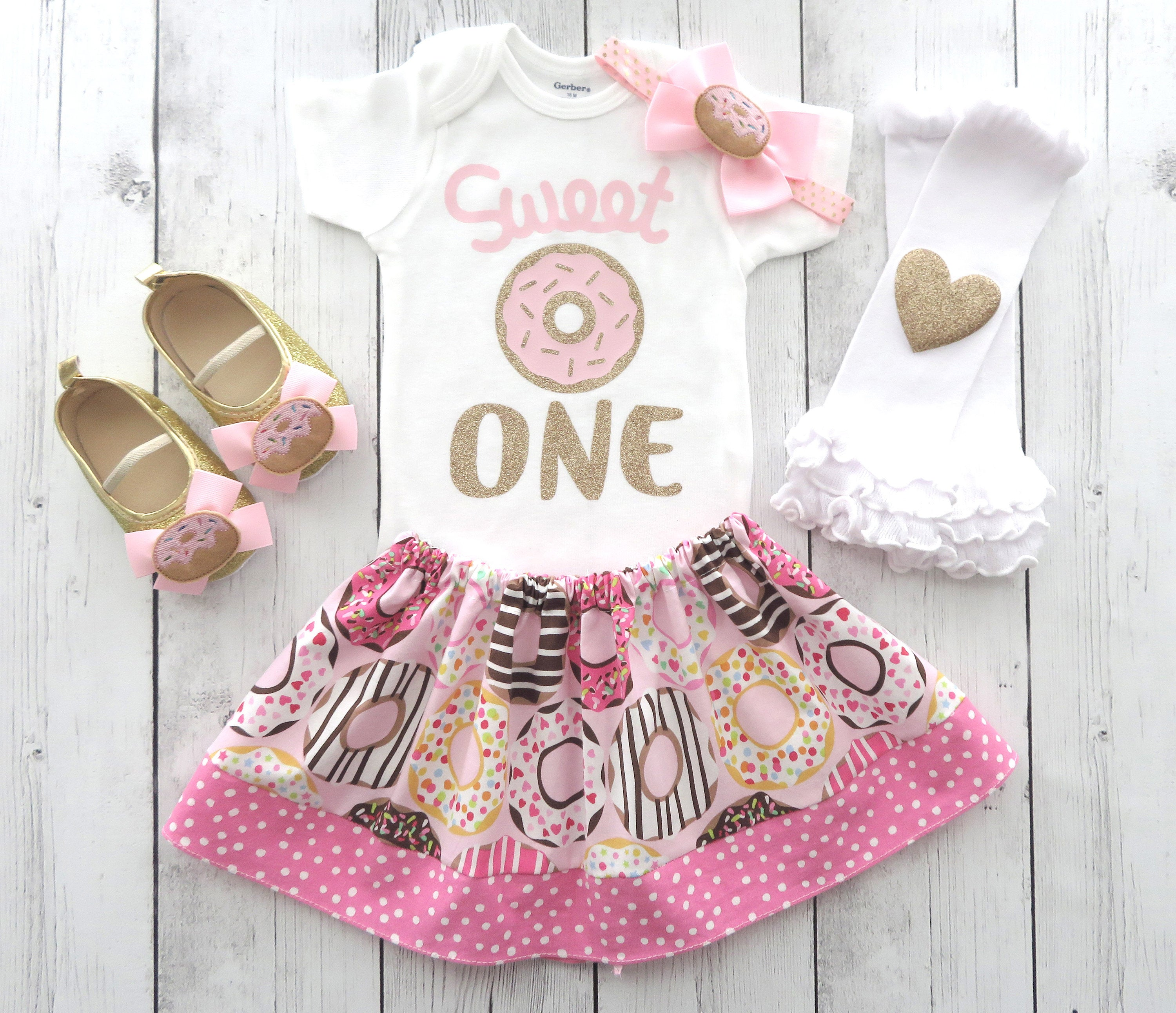 Donut First Birthday Outfit for girl - girl birthday outfit, pink gold, doughnut first birthday, sprinkles, pink gold donut outfit